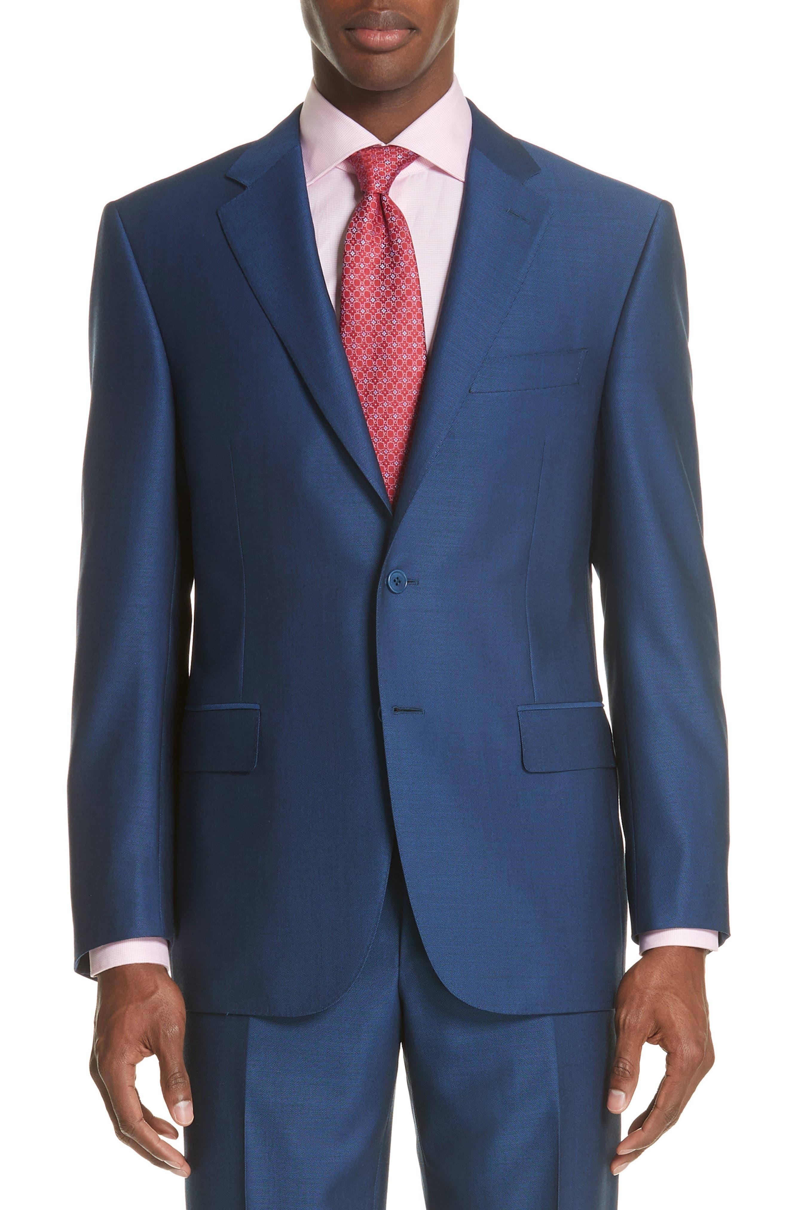 Classic Fit Solid Wool Suit,                             Alternate thumbnail 5, color,                             Blue
