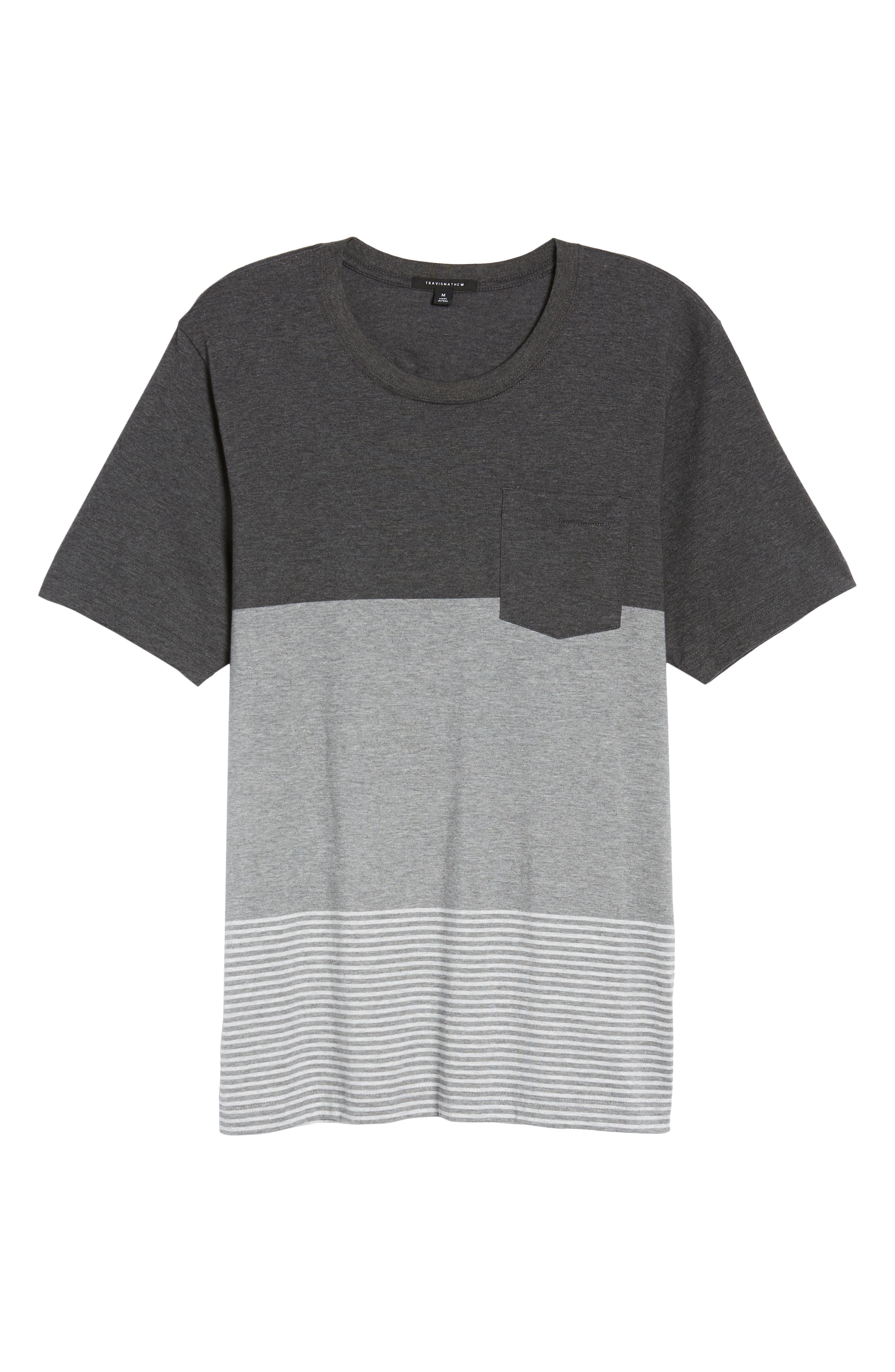 Kramp Colorblock Pocket T-Shirt,                             Alternate thumbnail 6, color,                             Heather Grey Pinstripe