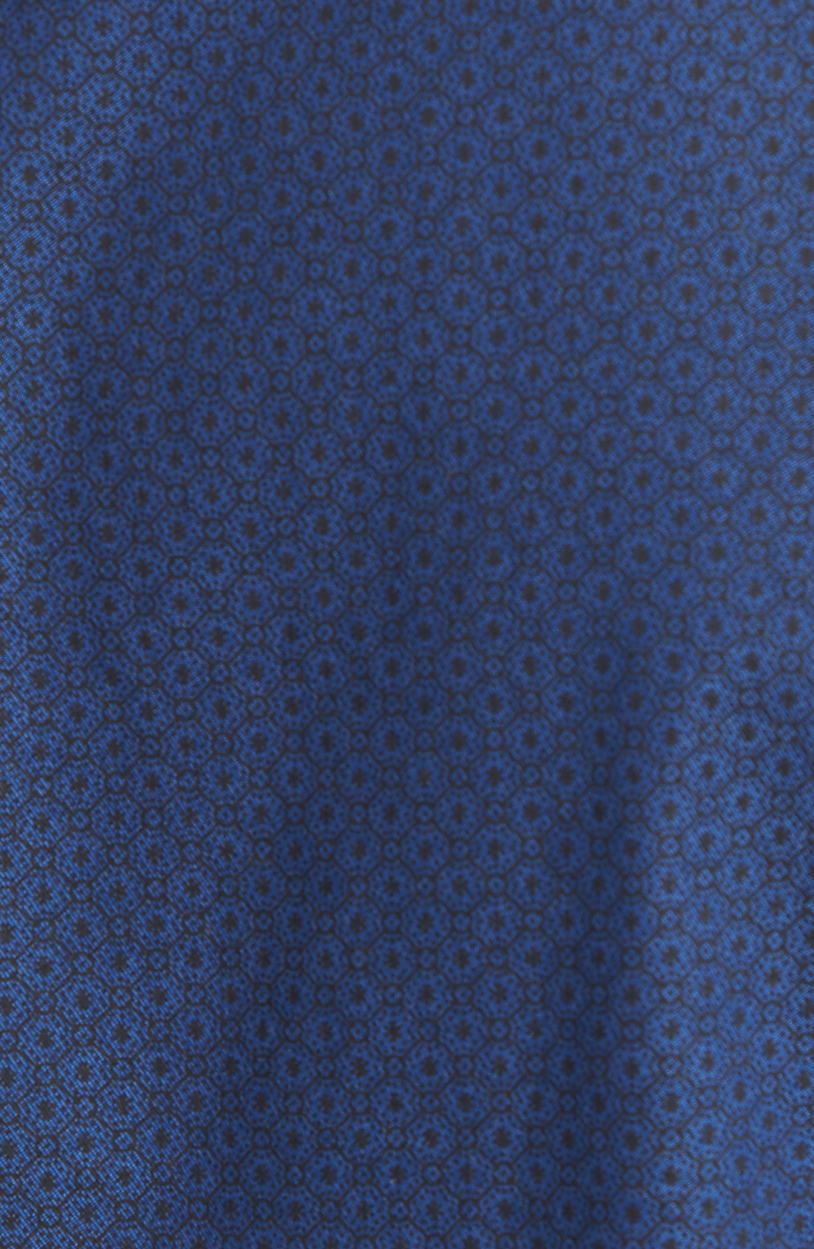 Trim Fit Round Pocket Sport Shirt,                             Alternate thumbnail 5, color,                             Blue Black Flower Print