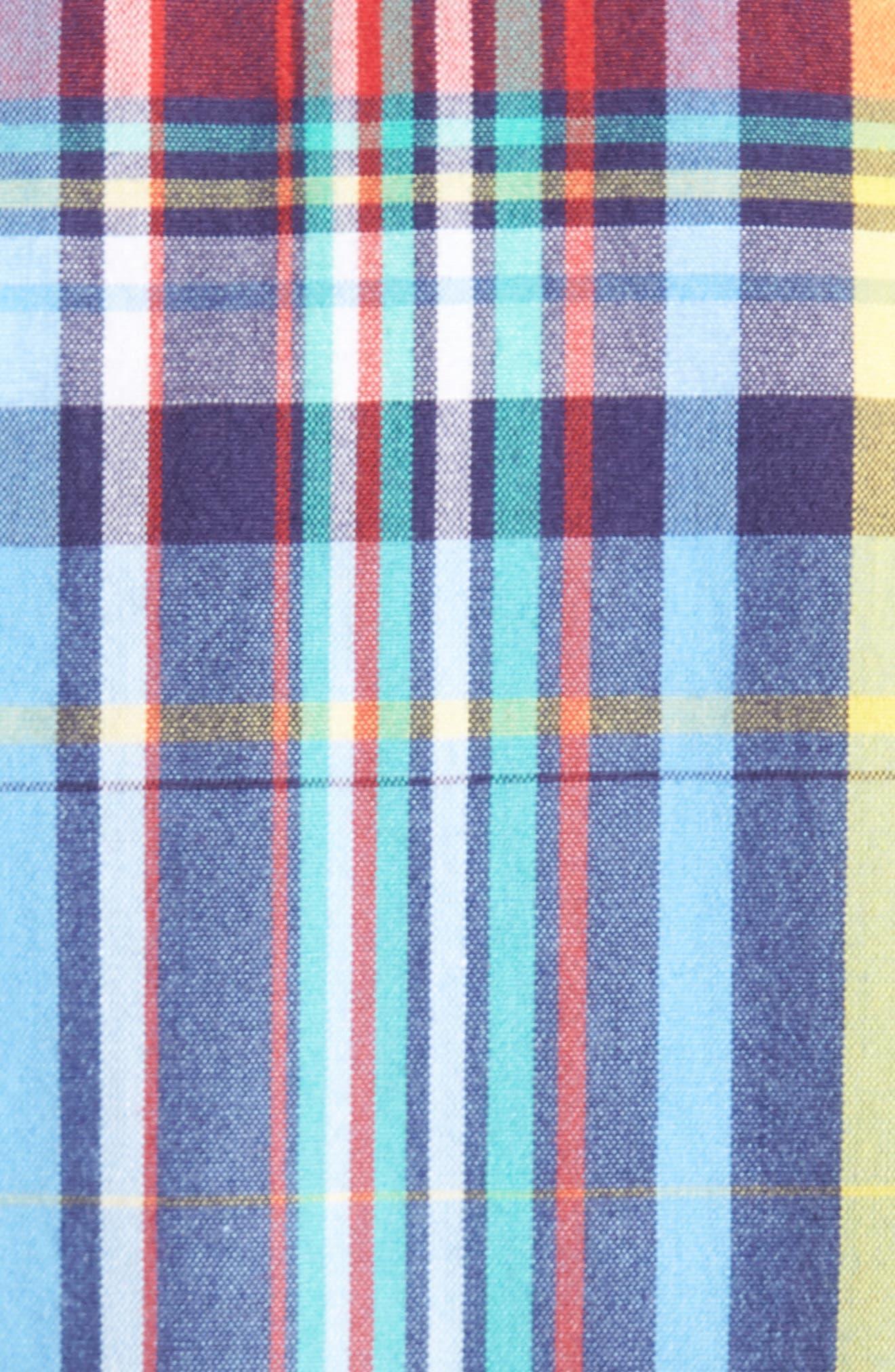 Ivy Trim Fit Madras Plaid Sport Shirt,                             Alternate thumbnail 5, color,                             Blue Chambray Multi Plaid