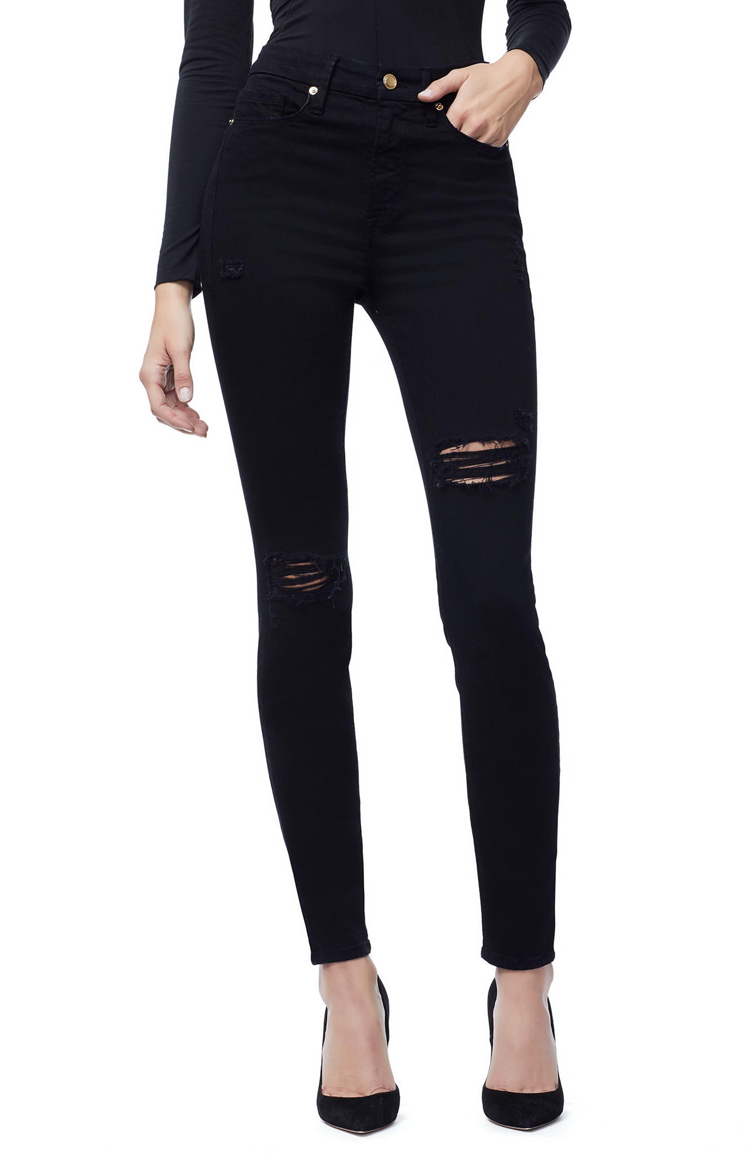 Good American Good Waist Side Slit Skinny Jeans (Regular & Plus)