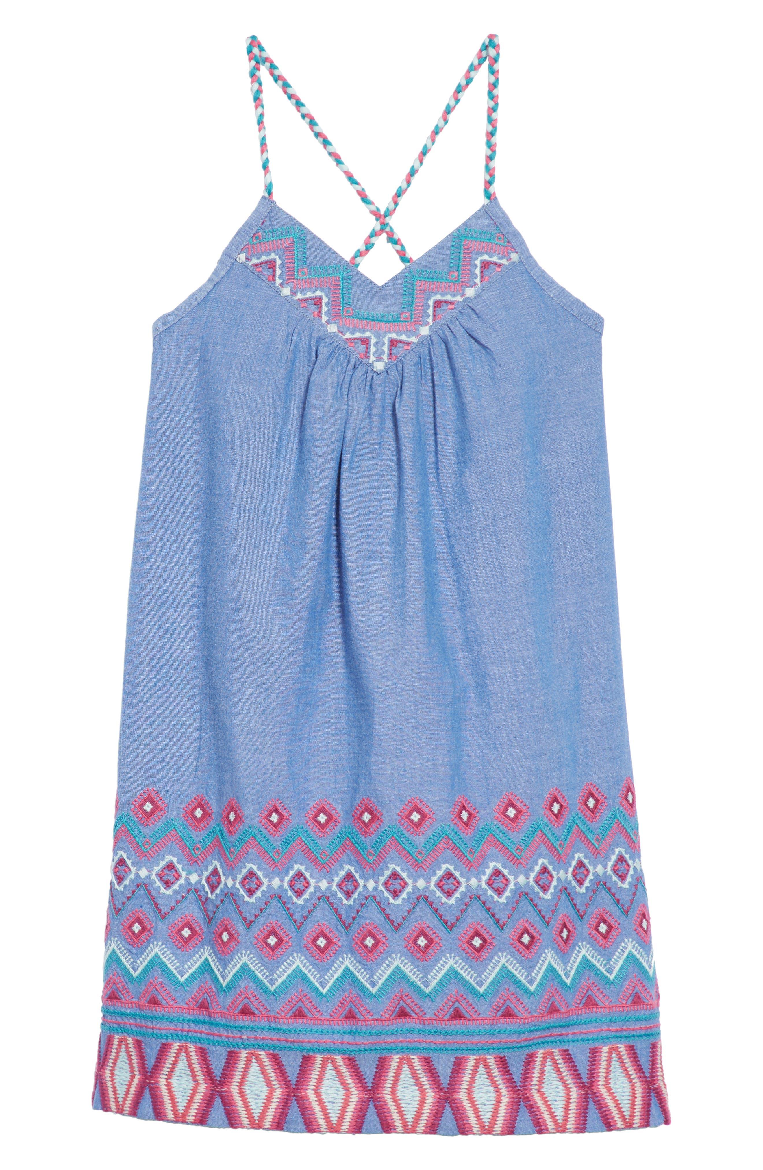 Peek Melia Embroidered Chambray Sundress (Toddler Girls, Little Girls & Big GIrls)
