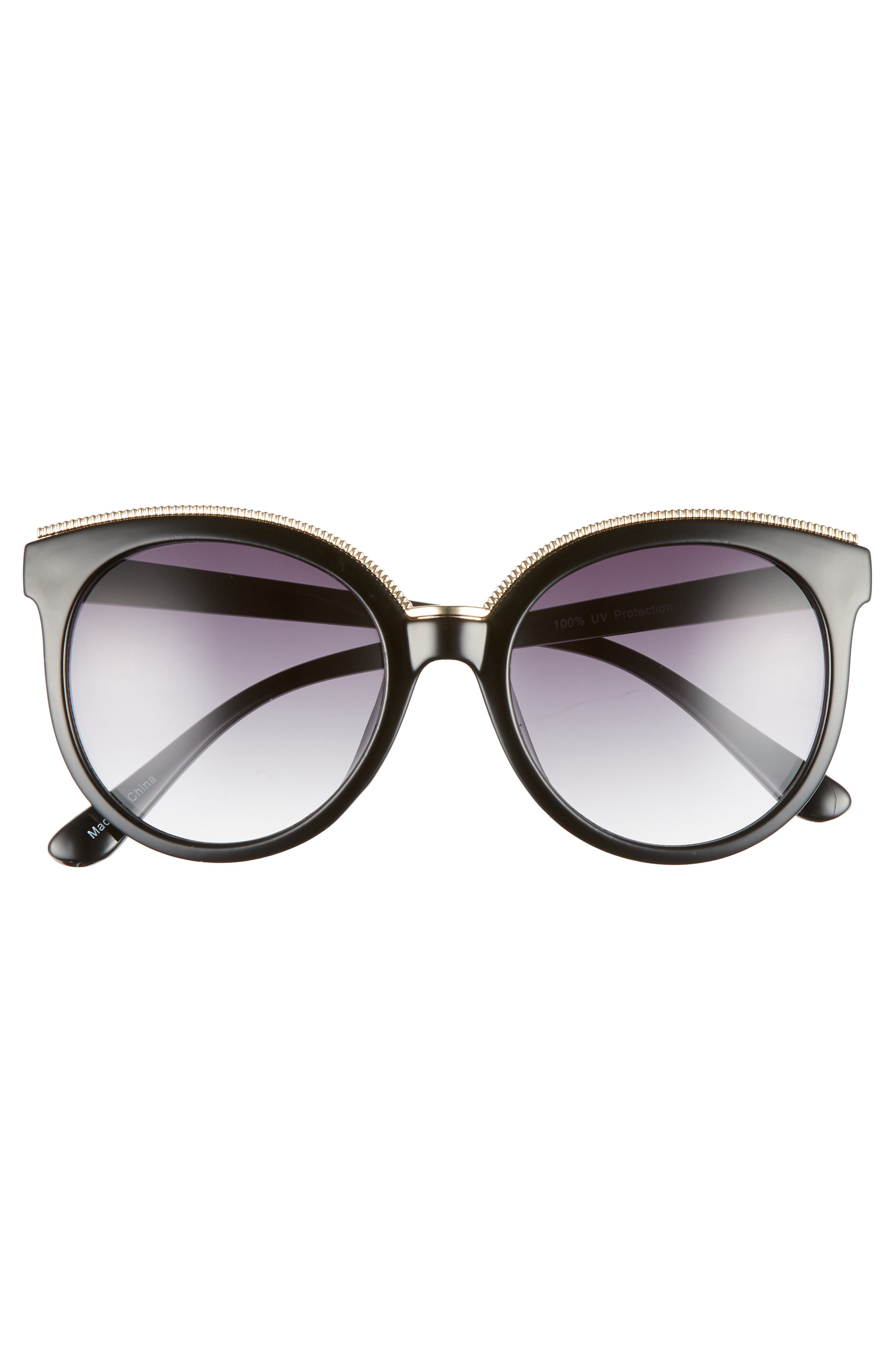 56mm Metal Trim Round Sunglasses,                             Alternate thumbnail 3, color,                             Black/ Gold