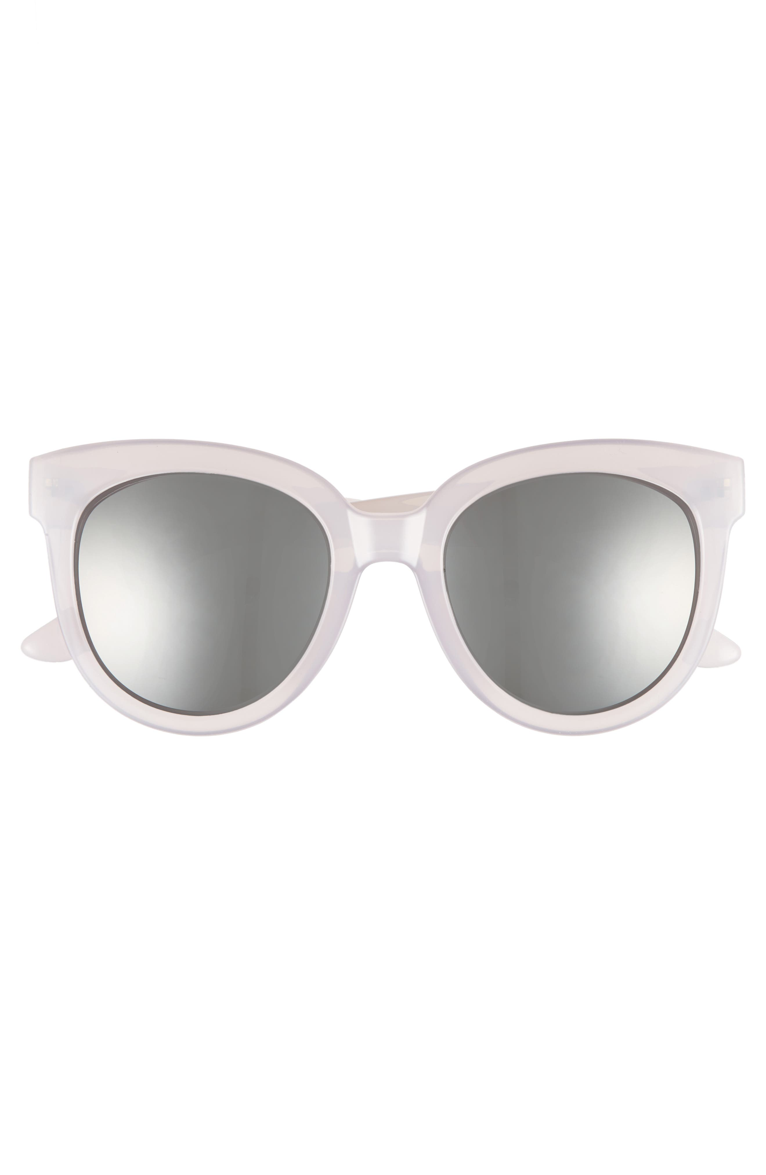 53mm Frosted Cat Eye Sunglasses,                             Alternate thumbnail 3, color,                             Milky Gray/ Silver