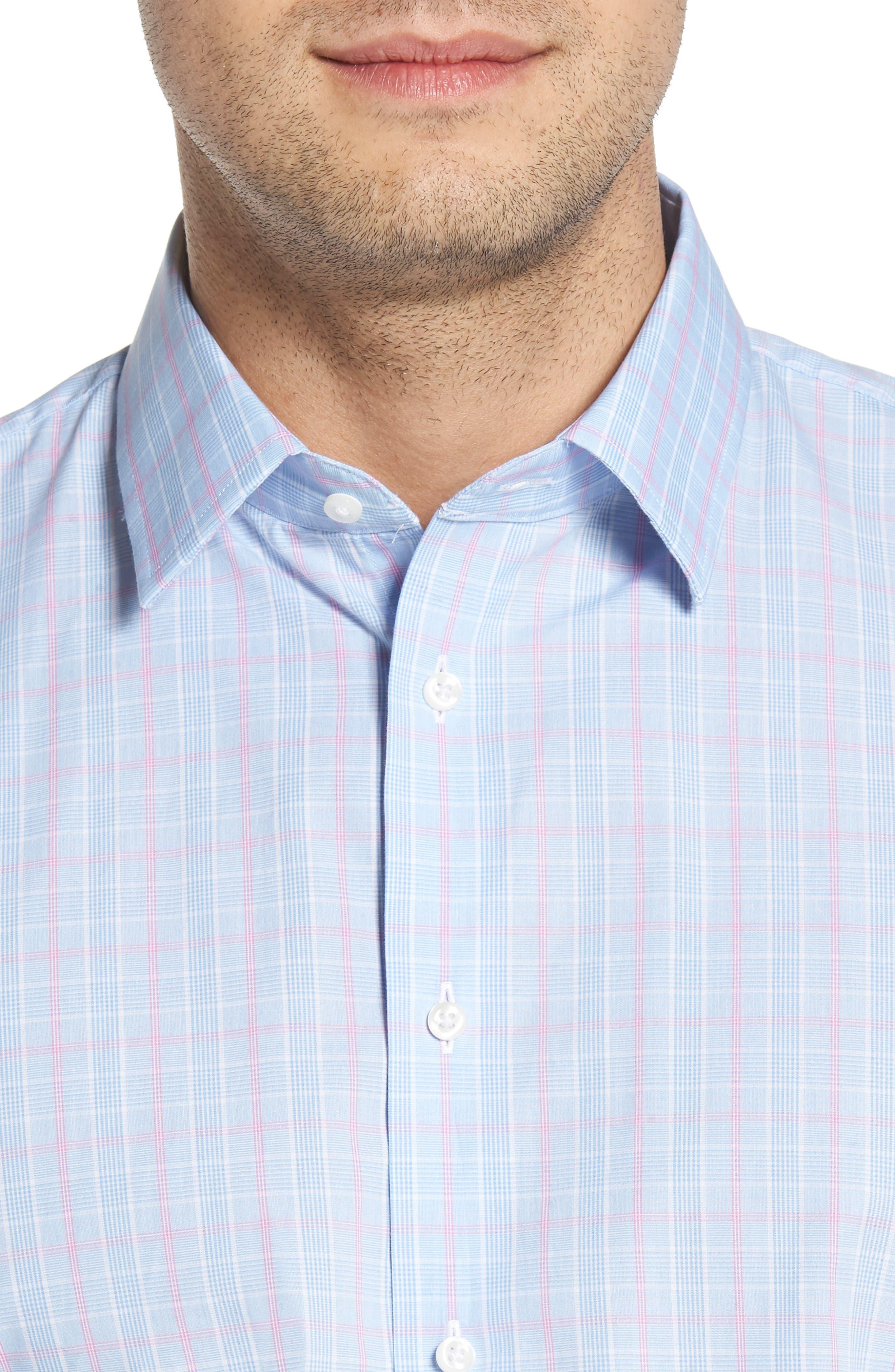 Traditional Fit Plaid Dress Shirt,                             Alternate thumbnail 2, color,                             Blue Hydrangea