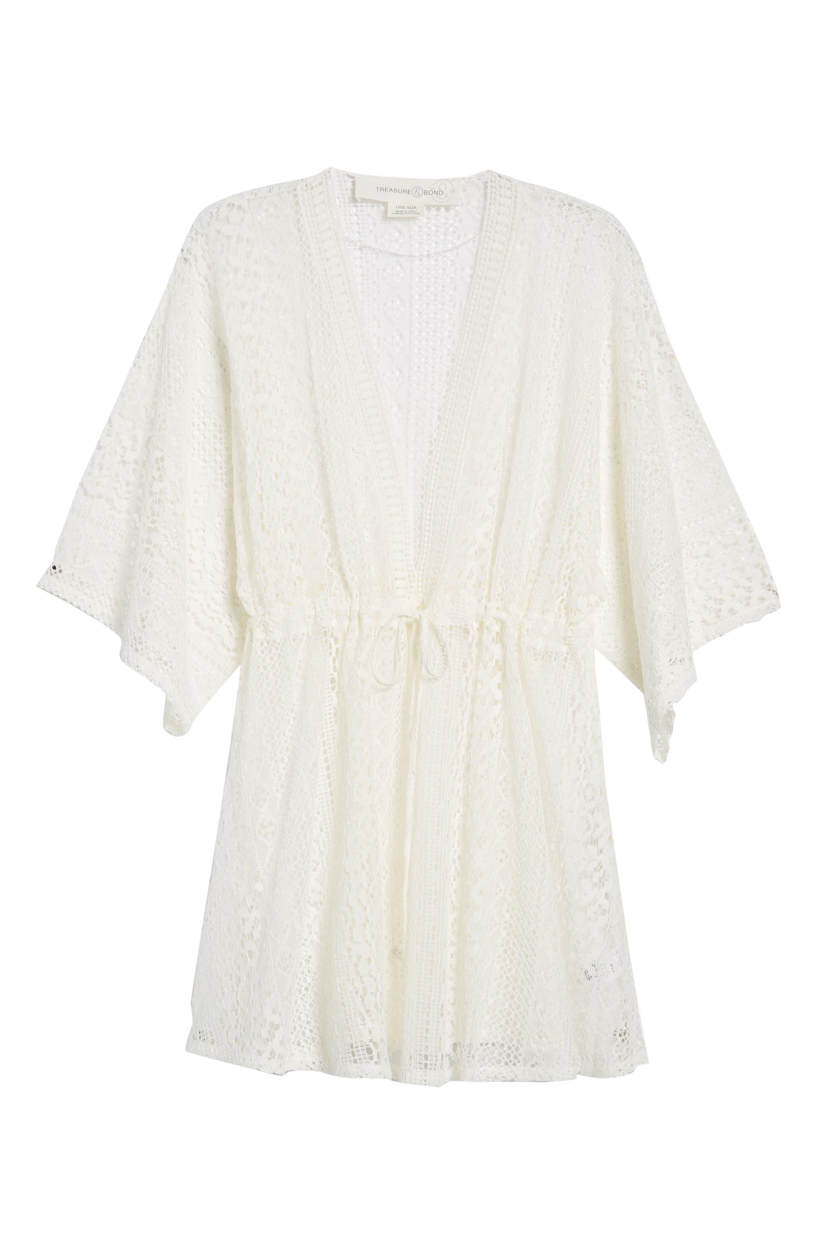 Lace Kimono Pullover,                             Alternate thumbnail 6, color,                             White
