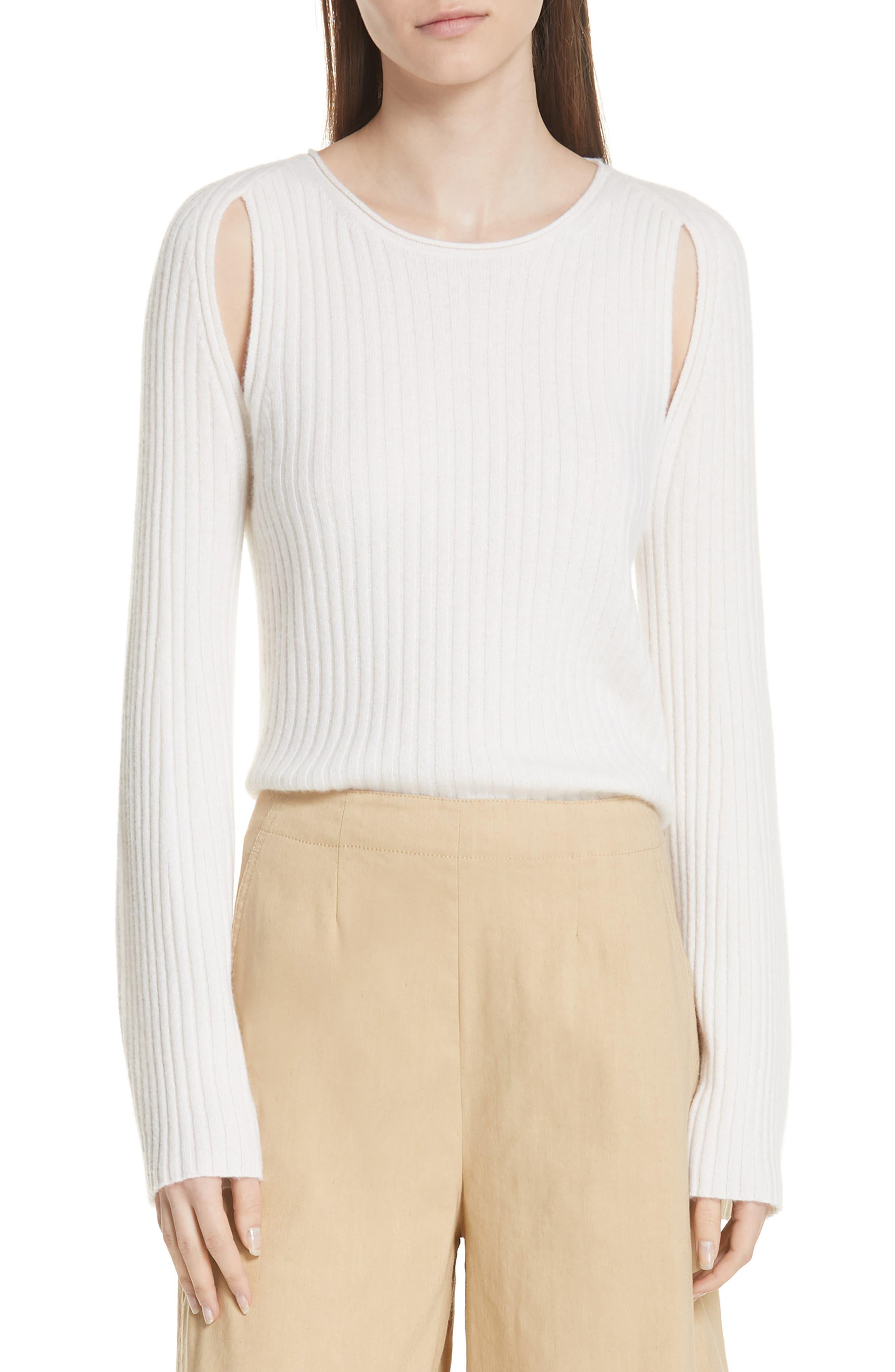Shoulder Slit Cashmere Crewneck Sweater,                             Main thumbnail 1, color,                             Off White