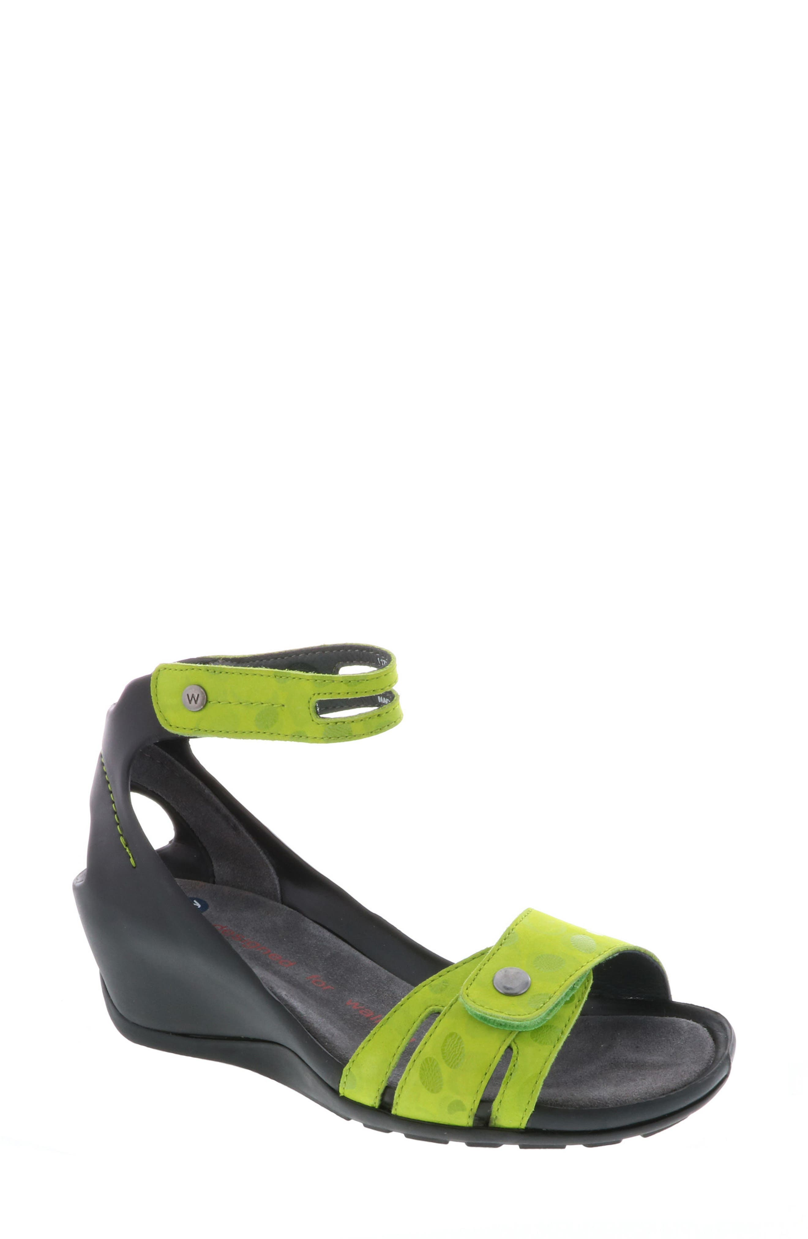 Za Wedge Sandal,                         Main,                         color, Lime Circle Print