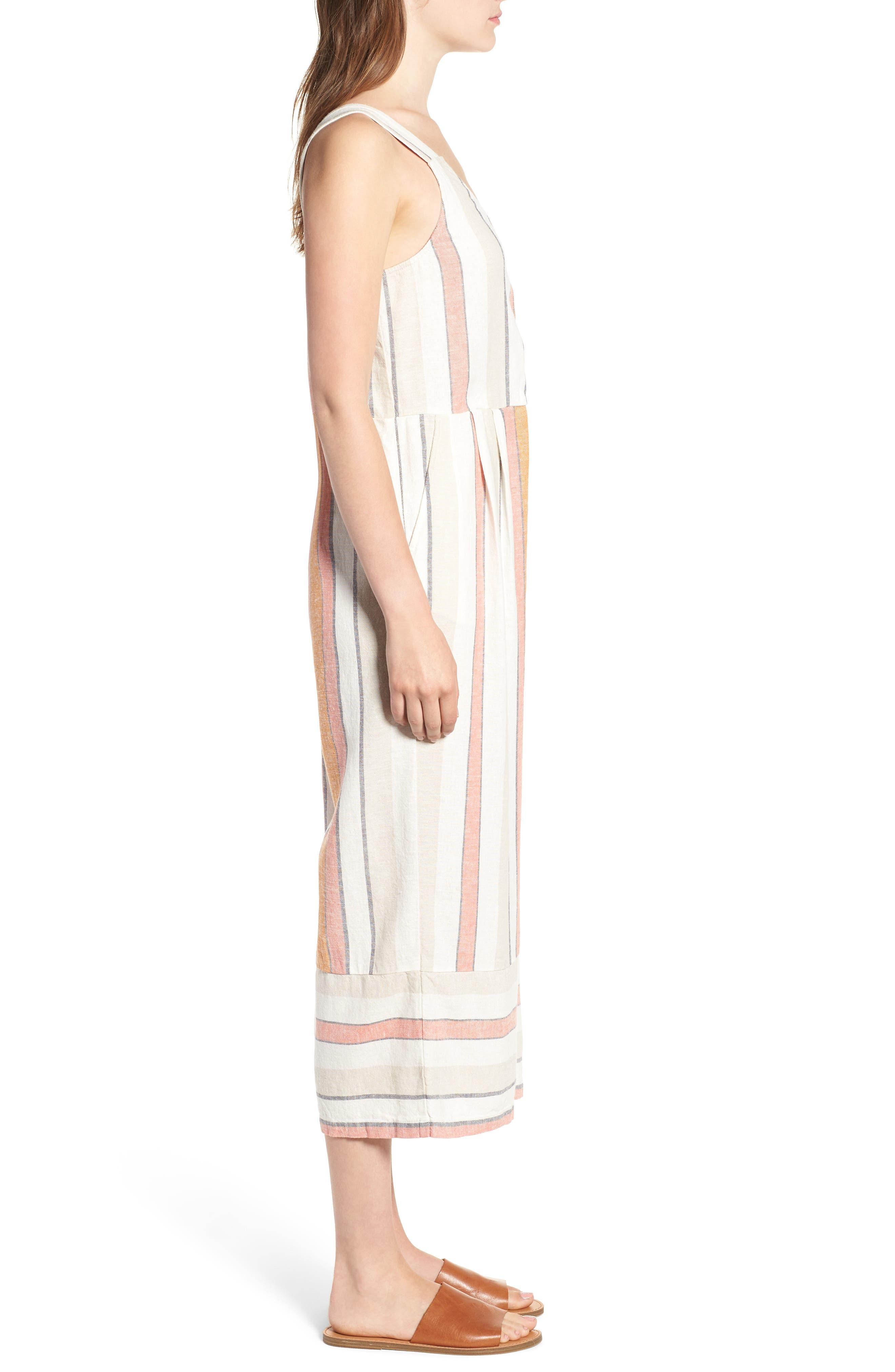 Stripe Surplice Jumpsuit,                             Alternate thumbnail 3, color,                             Ivy 70S Vertical Stripe