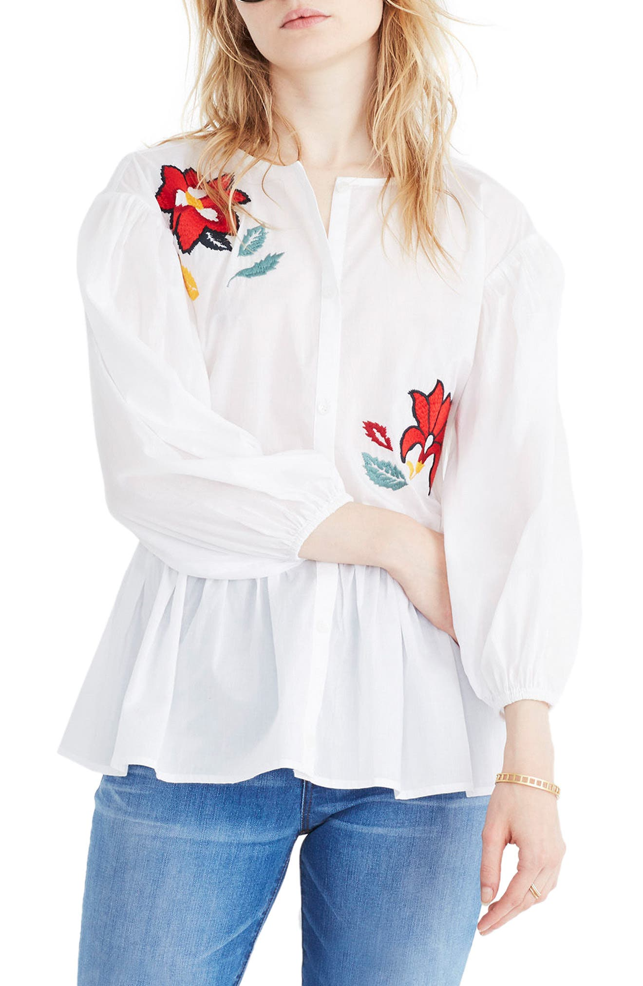 Embroidered Babydoll Shirt,                         Main,                         color, Eyelet White