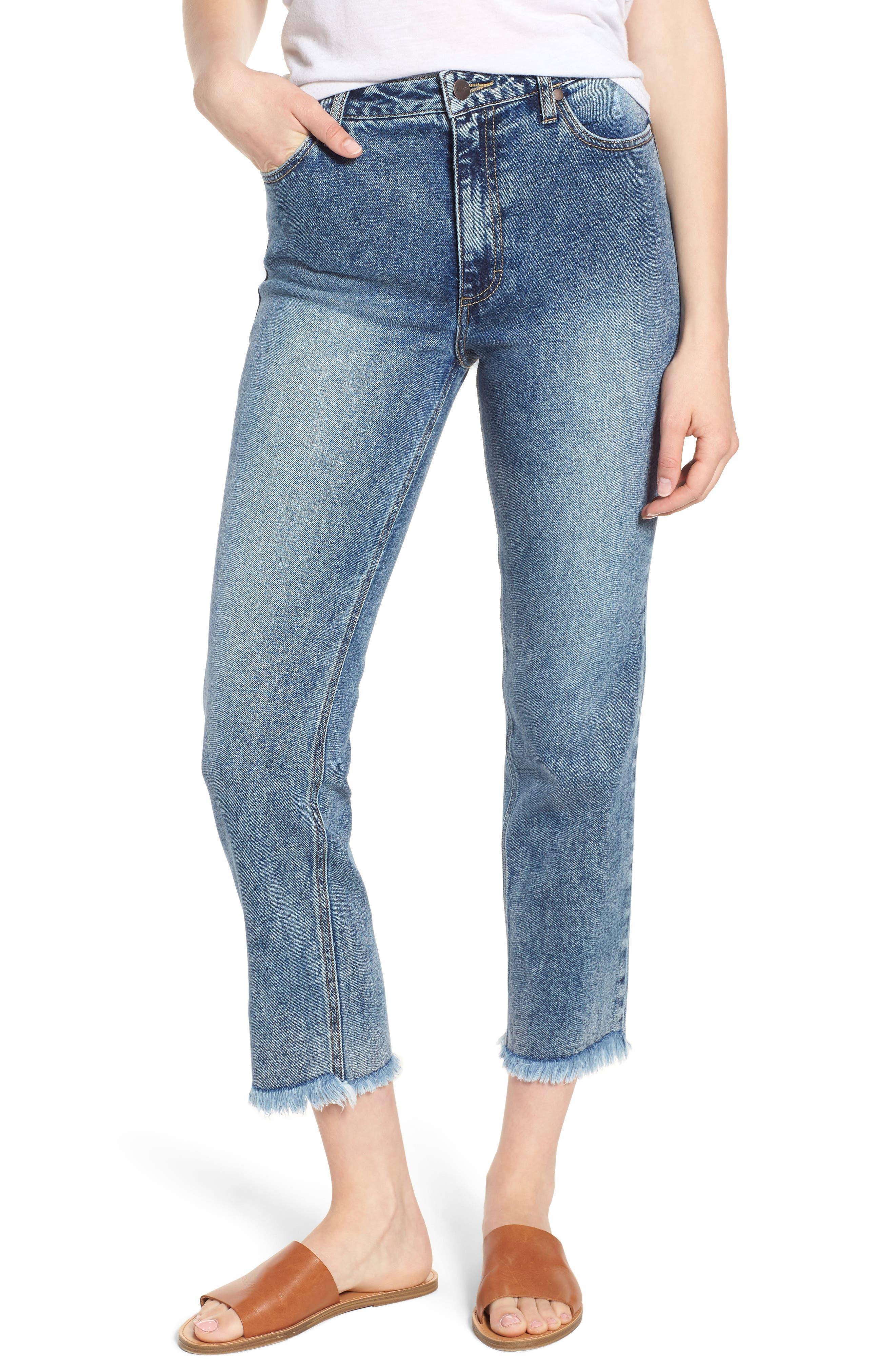 Acid Wash High Waist Crop Jeans,                             Main thumbnail 1, color,                             Dark Acid