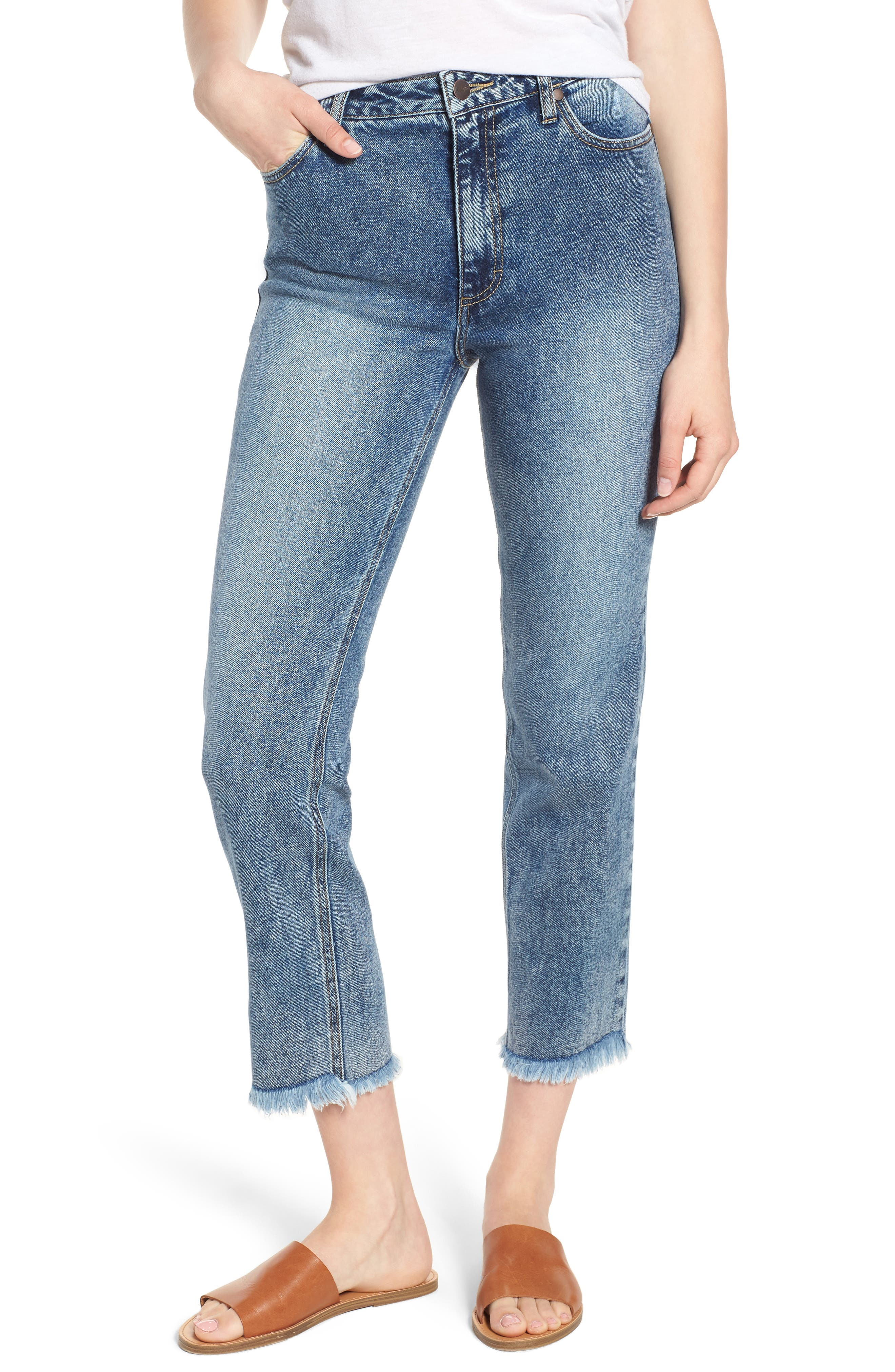 Acid Wash High Waist Crop Jeans,                         Main,                         color, Dark Acid