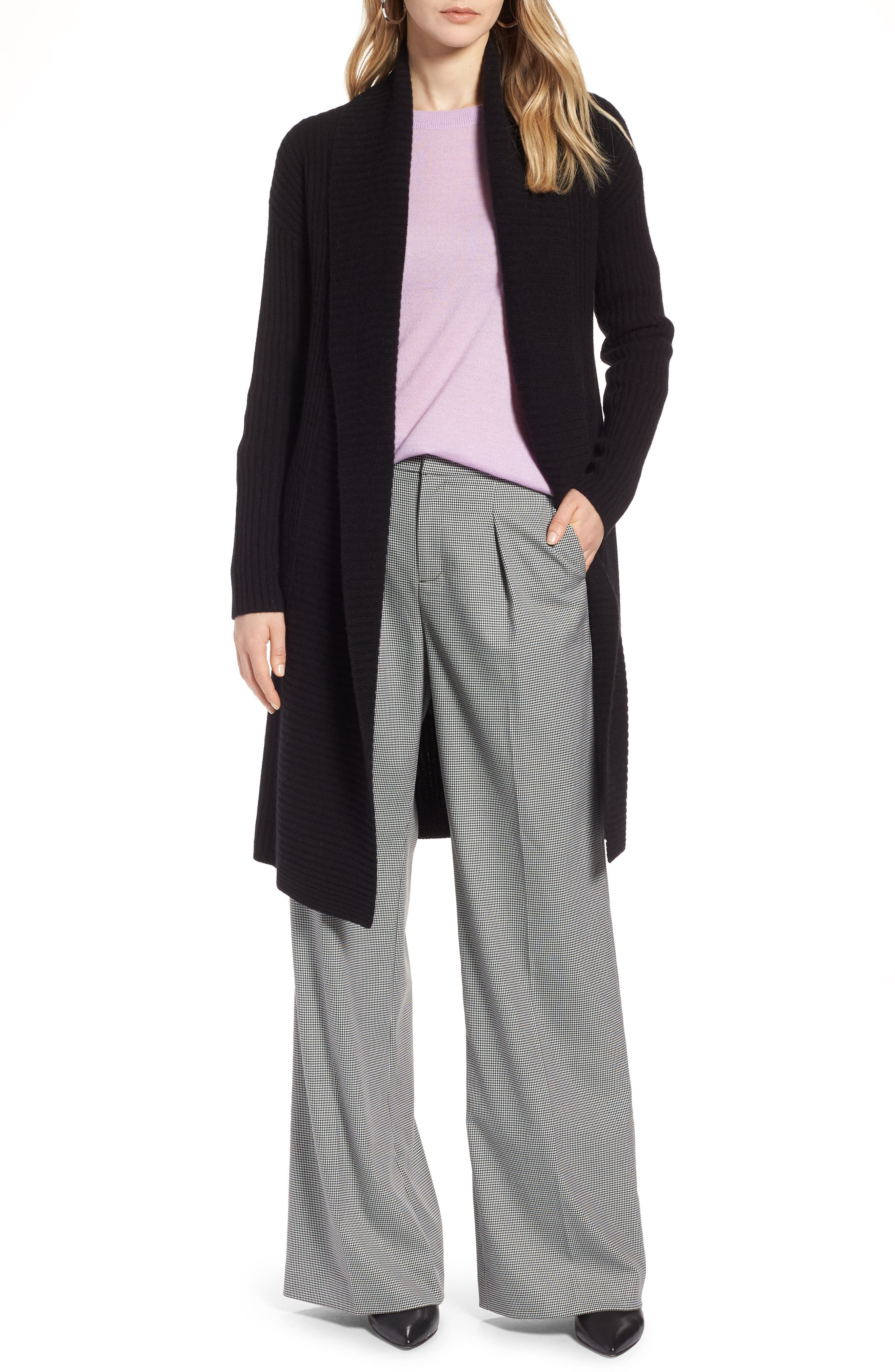 Long Ribbed Cashmere Cardigan,                         Main,                         color, Black