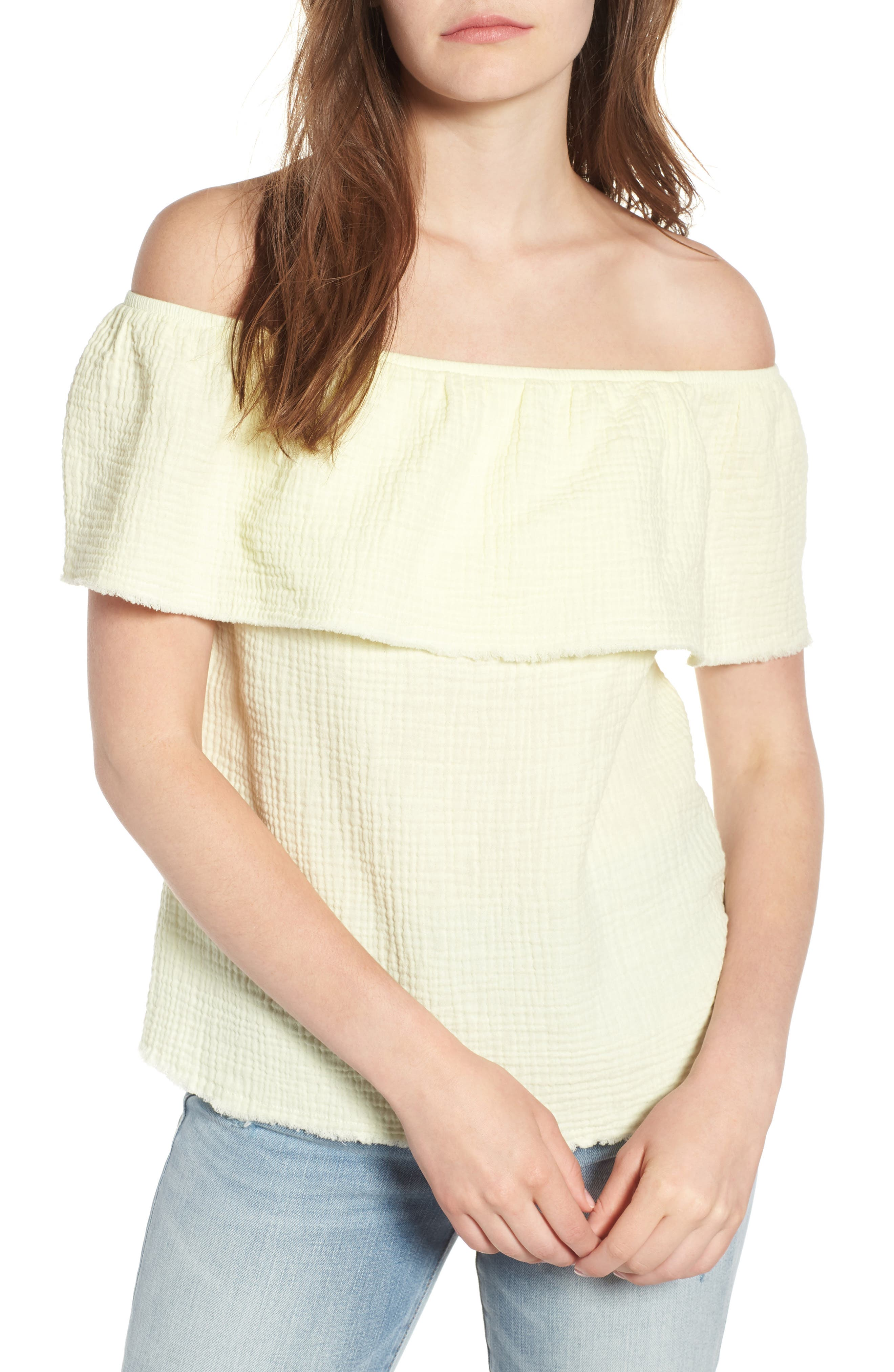 Ruffle Off the Shoulder Top,                         Main,                         color, Yellow