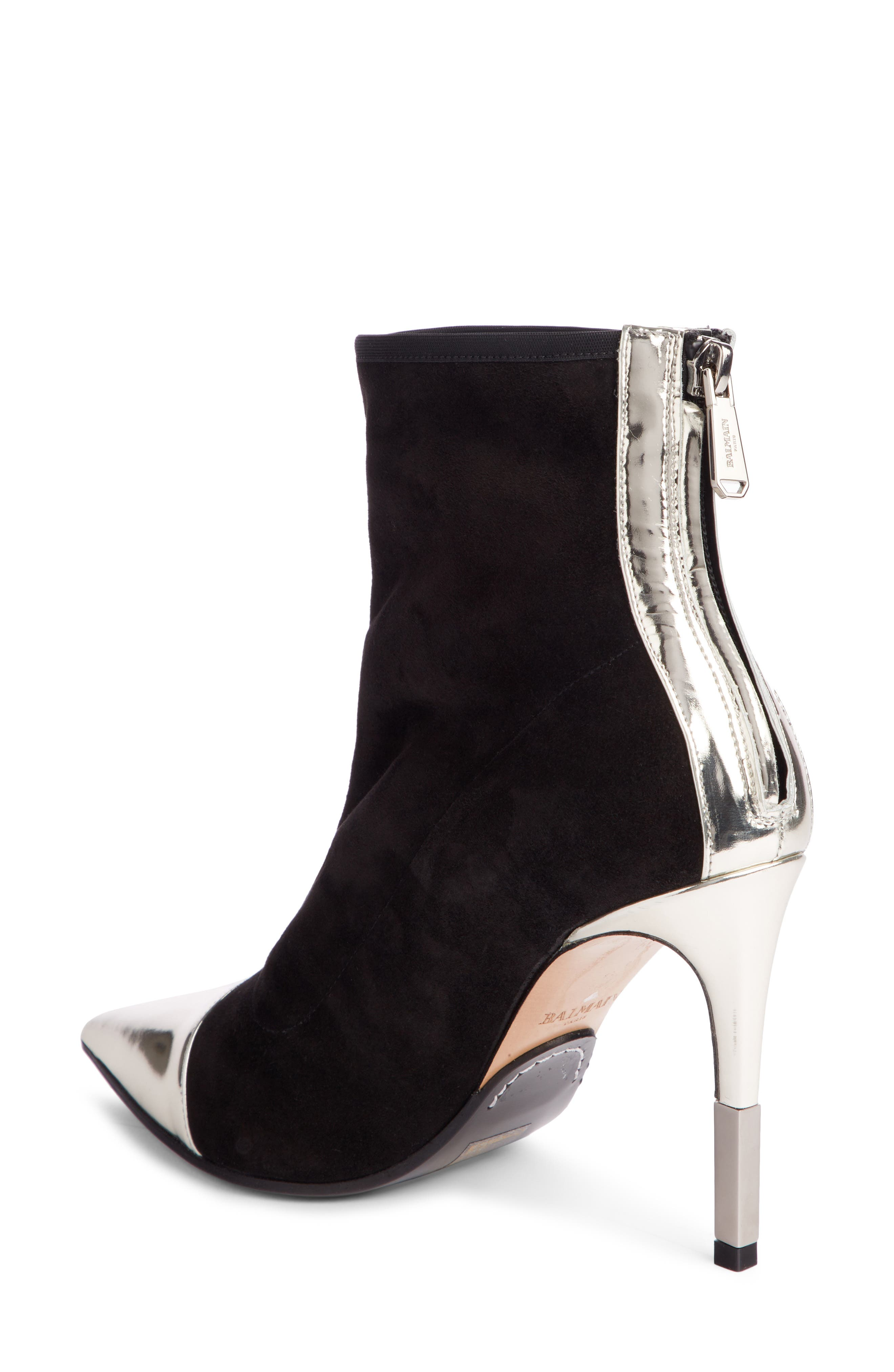 Blair Pointy Toe Bootie,                             Alternate thumbnail 2, color,                             Black/ Silver
