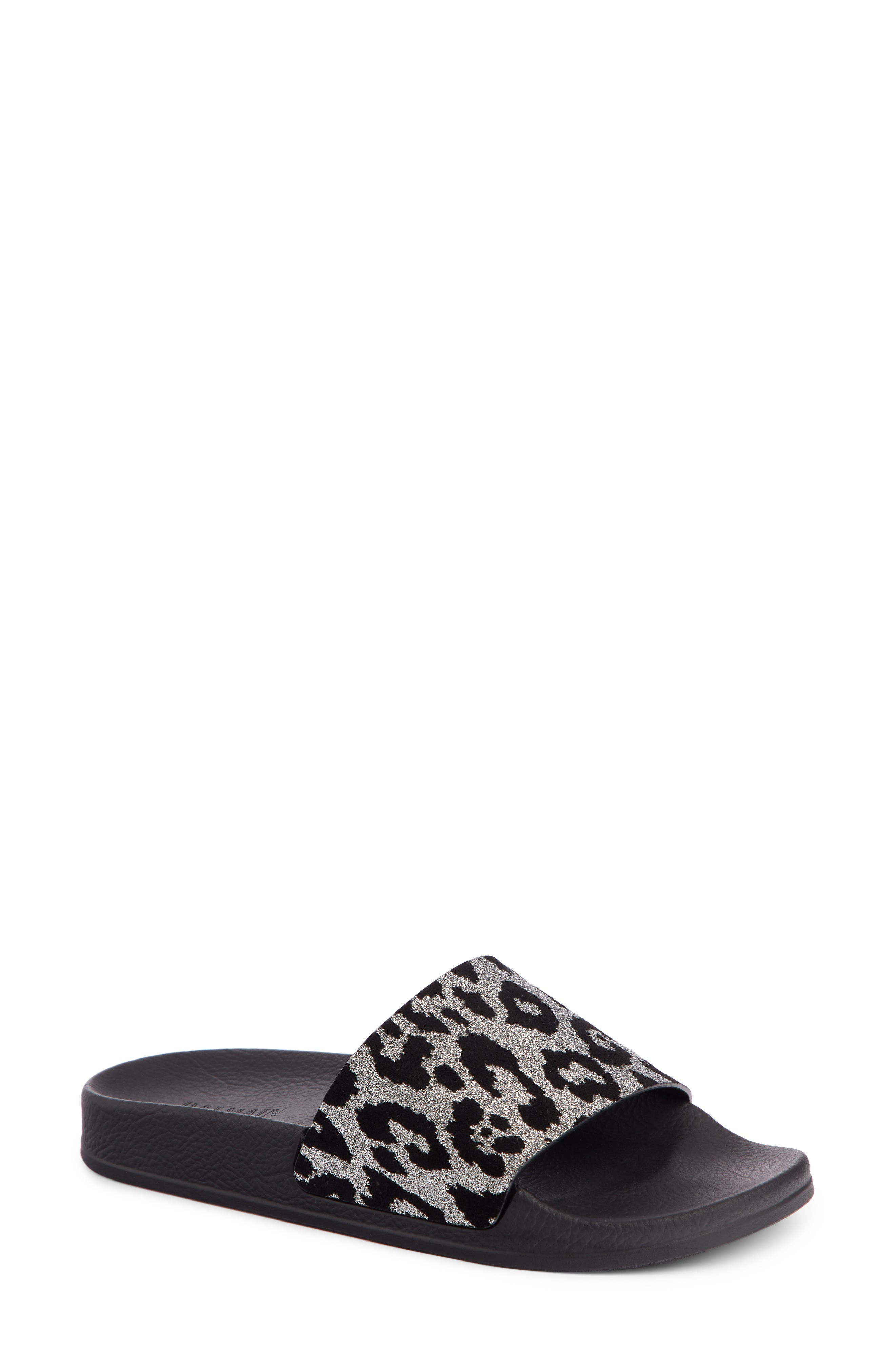 Balmain Calypso Leopard Print Slide Sandal (Women)