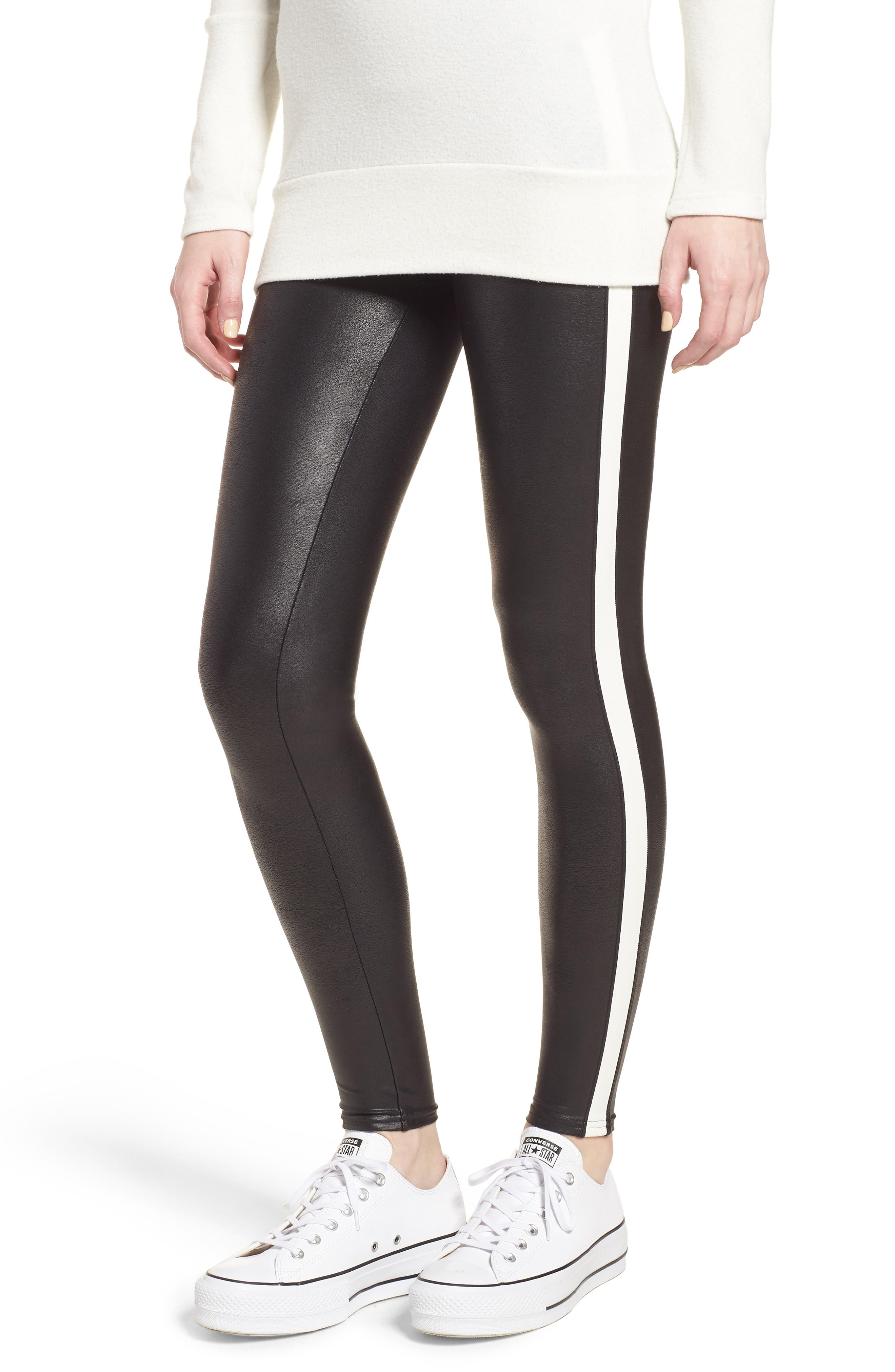Side Stripe Faux Leather Leggings,                         Main,                         color, Very Black/ Wht