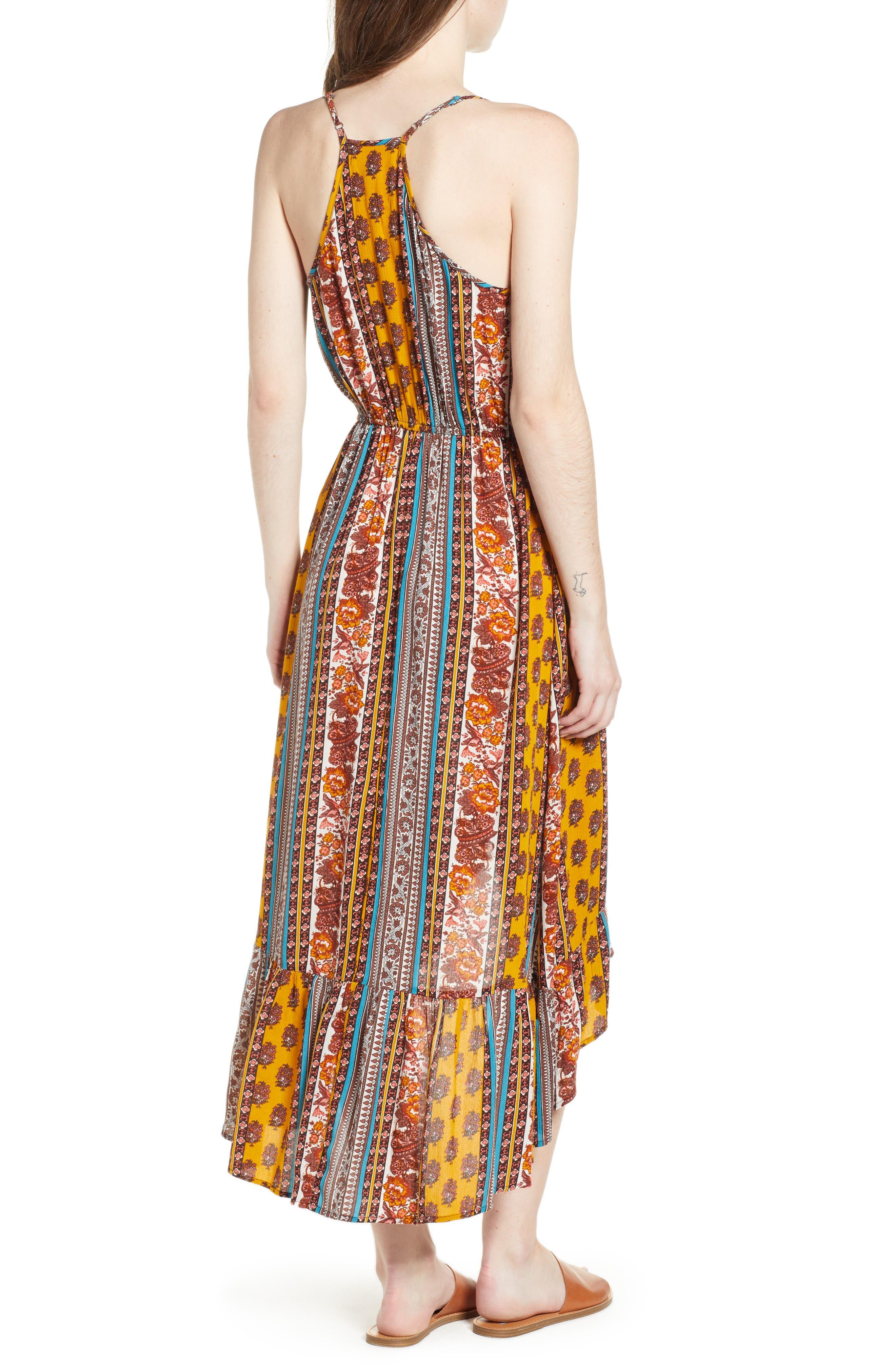 Geo Stripe High/Low Dress,                             Alternate thumbnail 2, color,                             Gold/ Teal