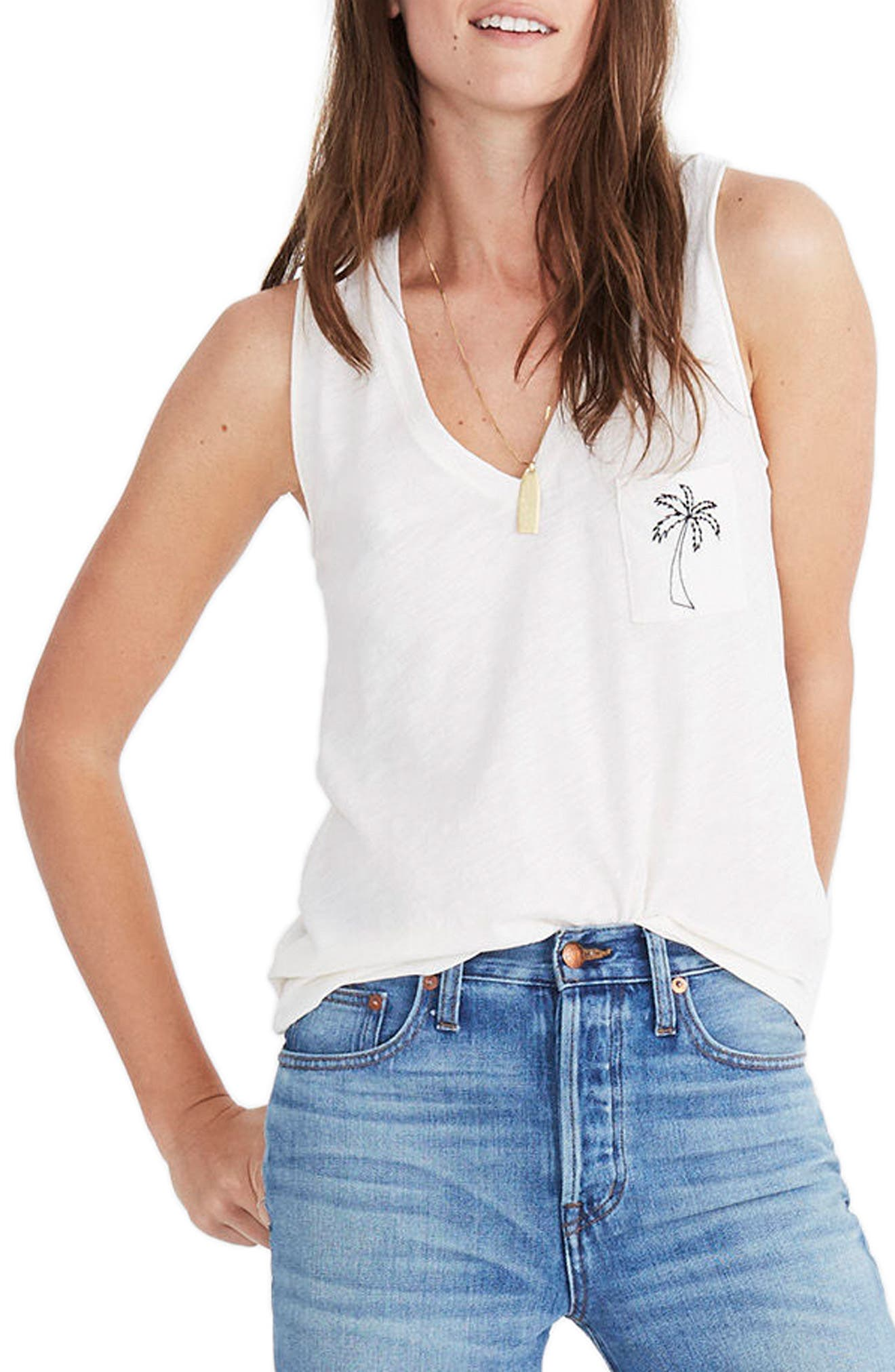 Whisper Cotton Palm V Neck Tank by Madewell