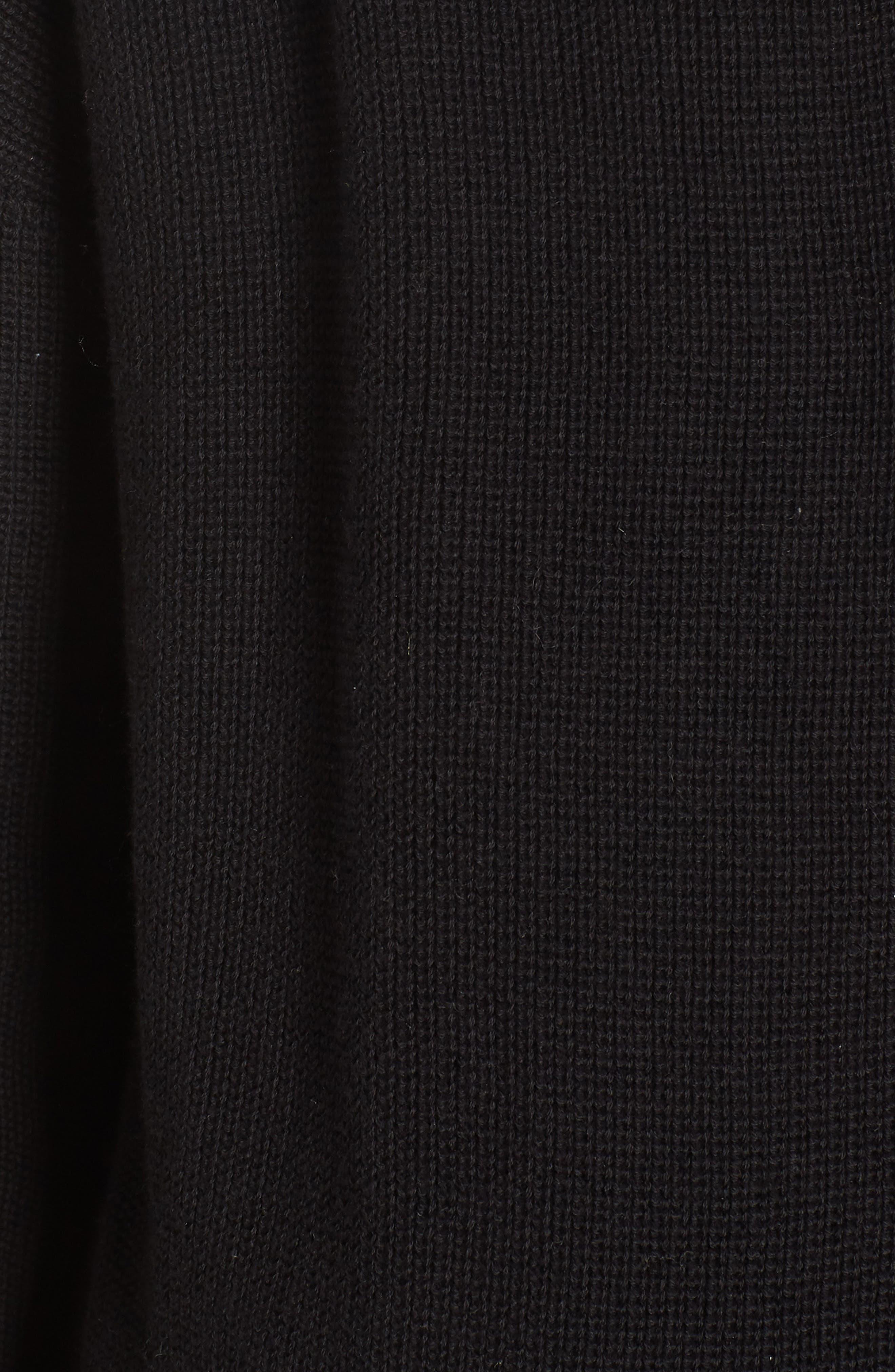 Stitch Curve Hem Cardigan,                             Alternate thumbnail 6, color,                             Black