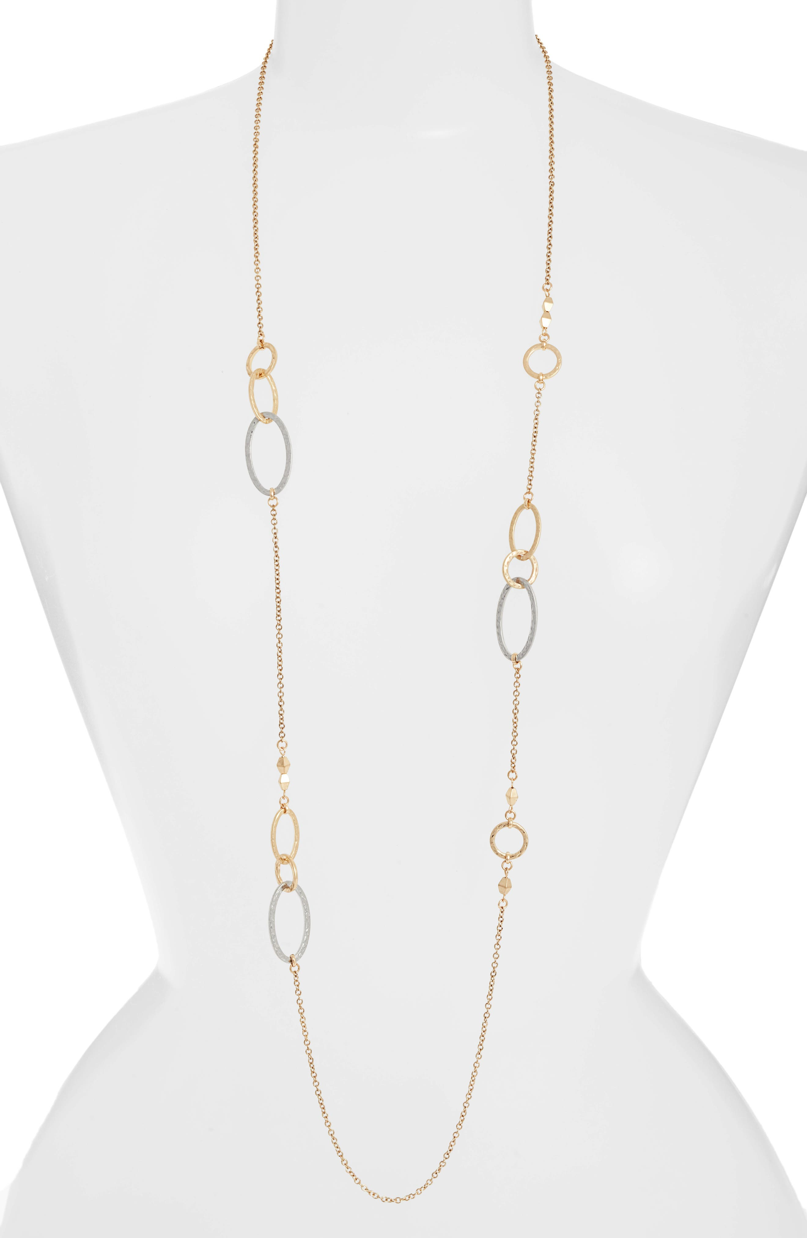 Two-Tone Oval Station Necklace,                         Main,                         color, Rhodium- Gold