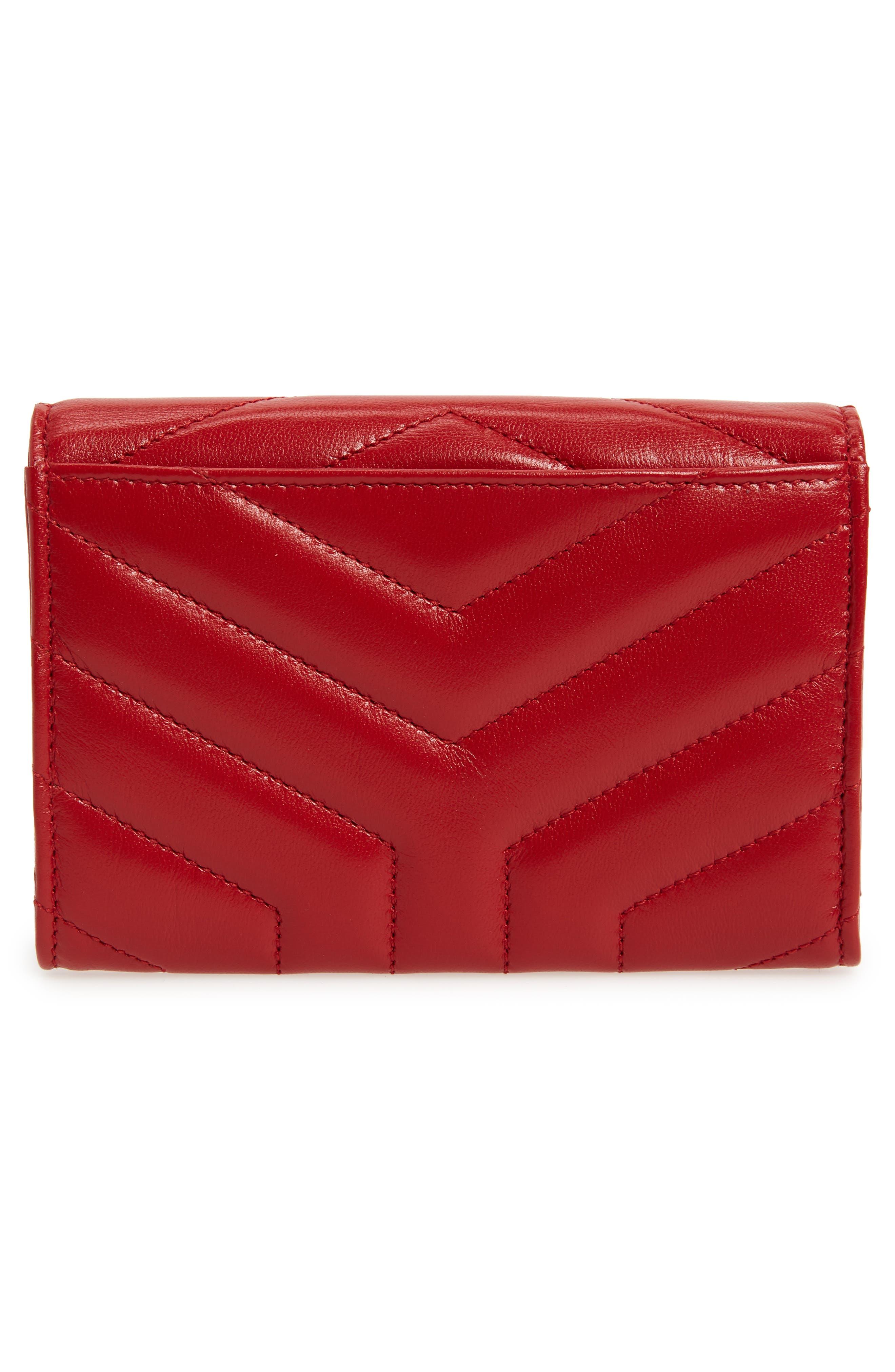 Small Loulou Matelassé Leather Wallet,                             Alternate thumbnail 4, color,                             Rouge Eros