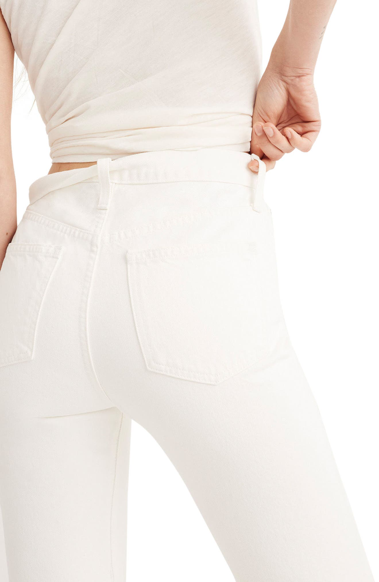 Perfect Summer High Waist Pieced Jeans,                             Alternate thumbnail 2, color,                             Tile White