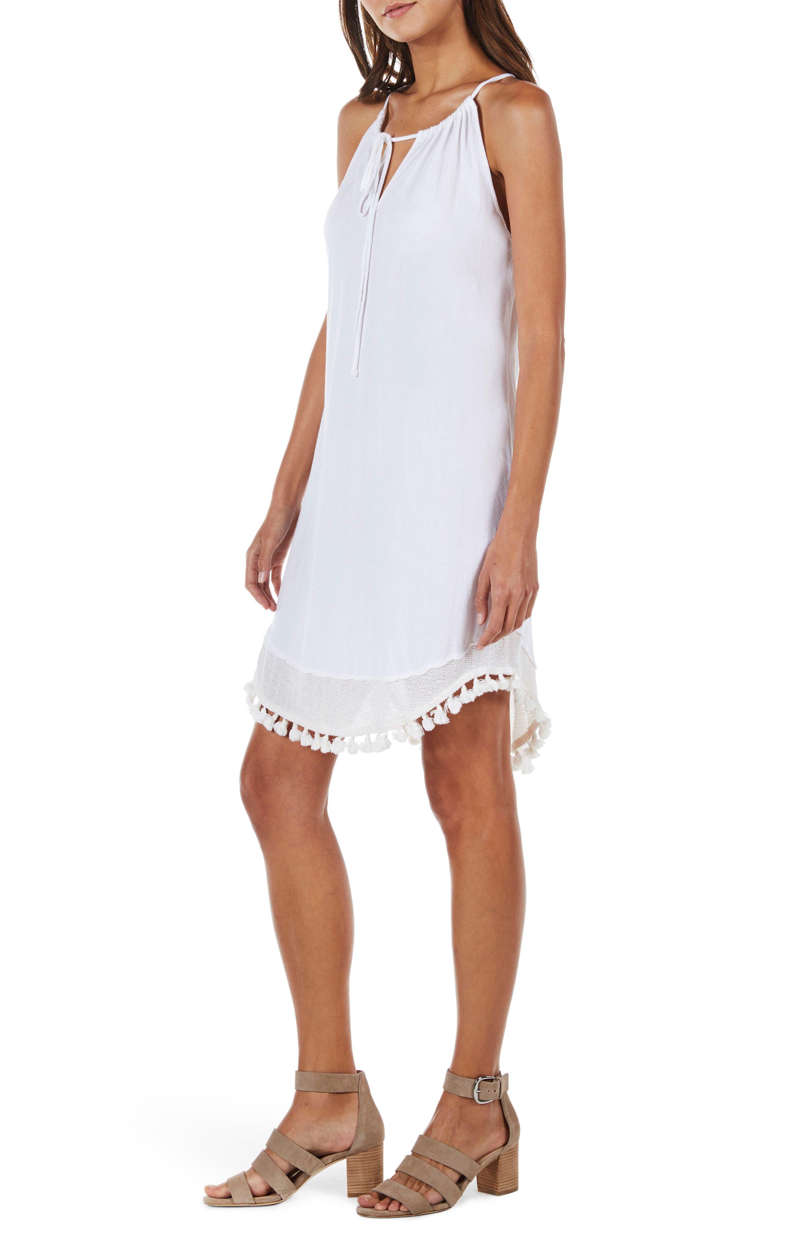 Tassel Trim Tank Dress,                             Alternate thumbnail 3, color,                             White
