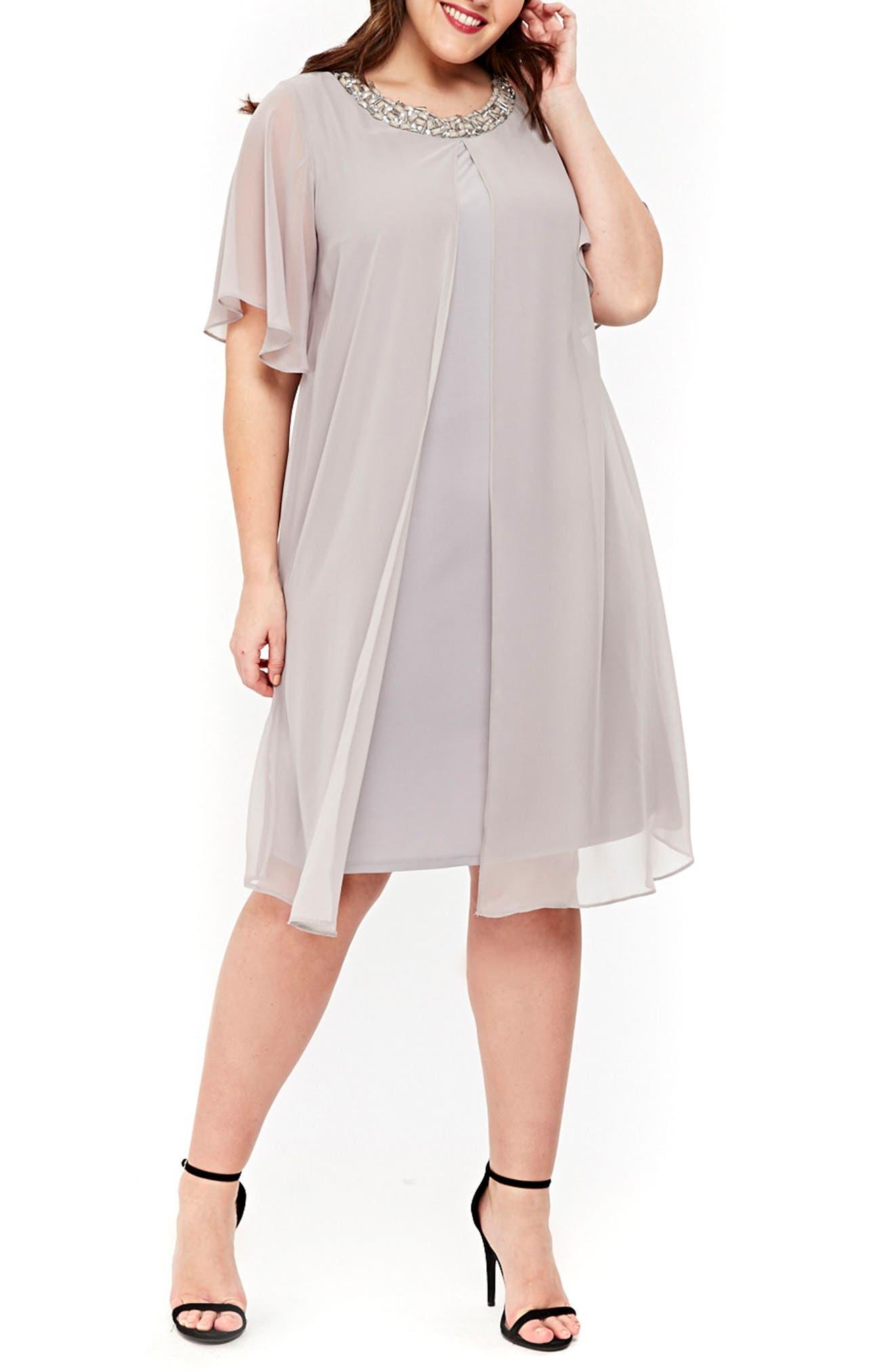 Embellished Neck Split Overlay Shift Dress,                         Main,                         color, Dark Multi