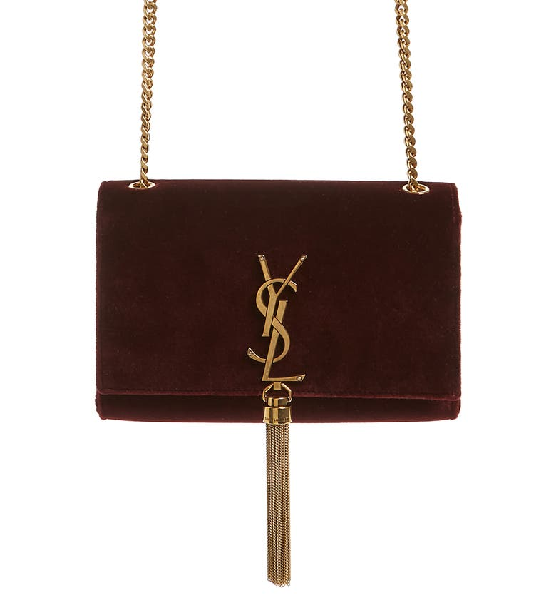 8231d519610a Saint Laurent Sunset Monogram Ysl Small Velvet Chain Crossbody Bag In Red