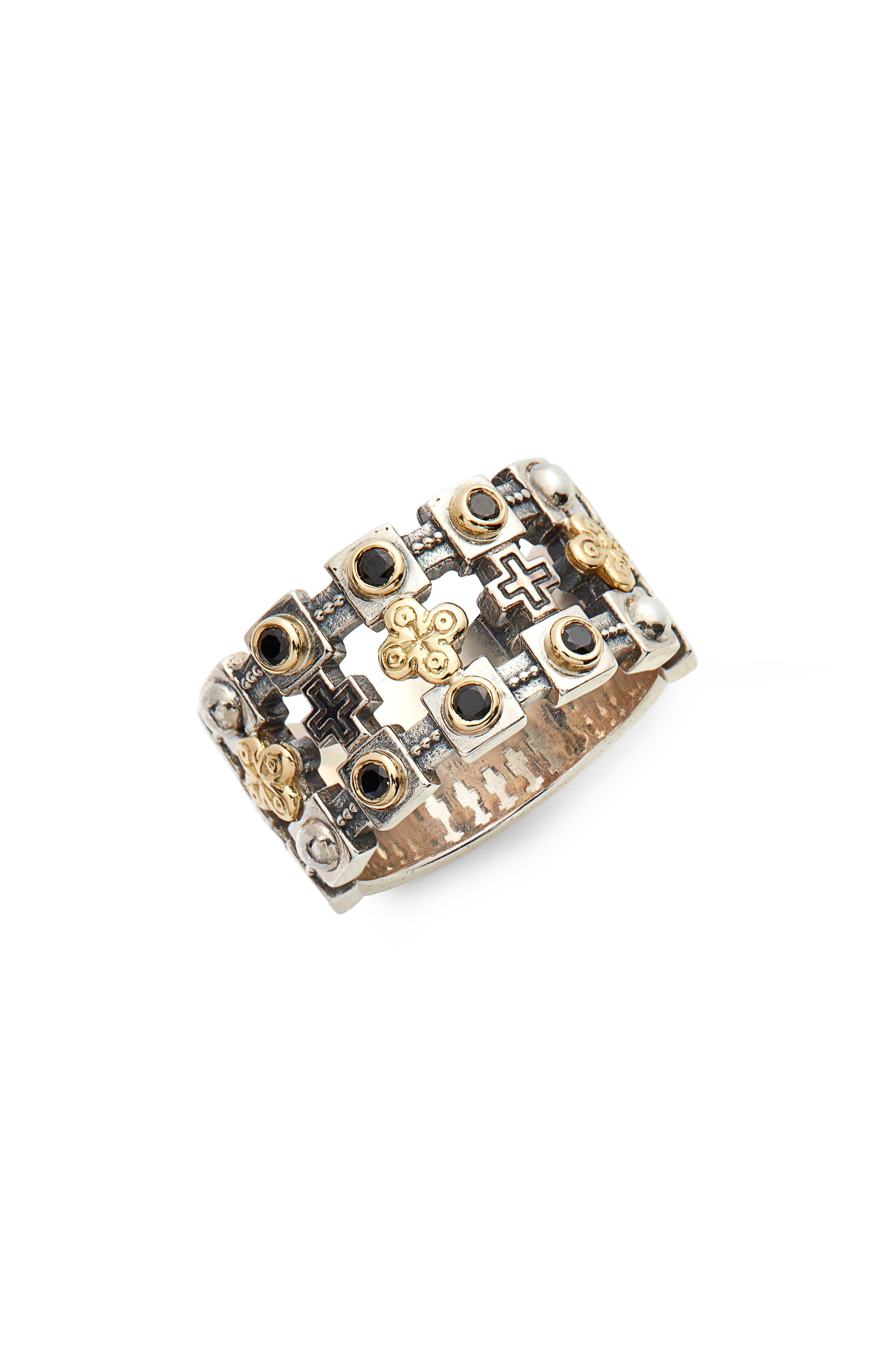 Stavros Openwork Wide Ring,                         Main,                         color, Silver/ Gold/ Spinel