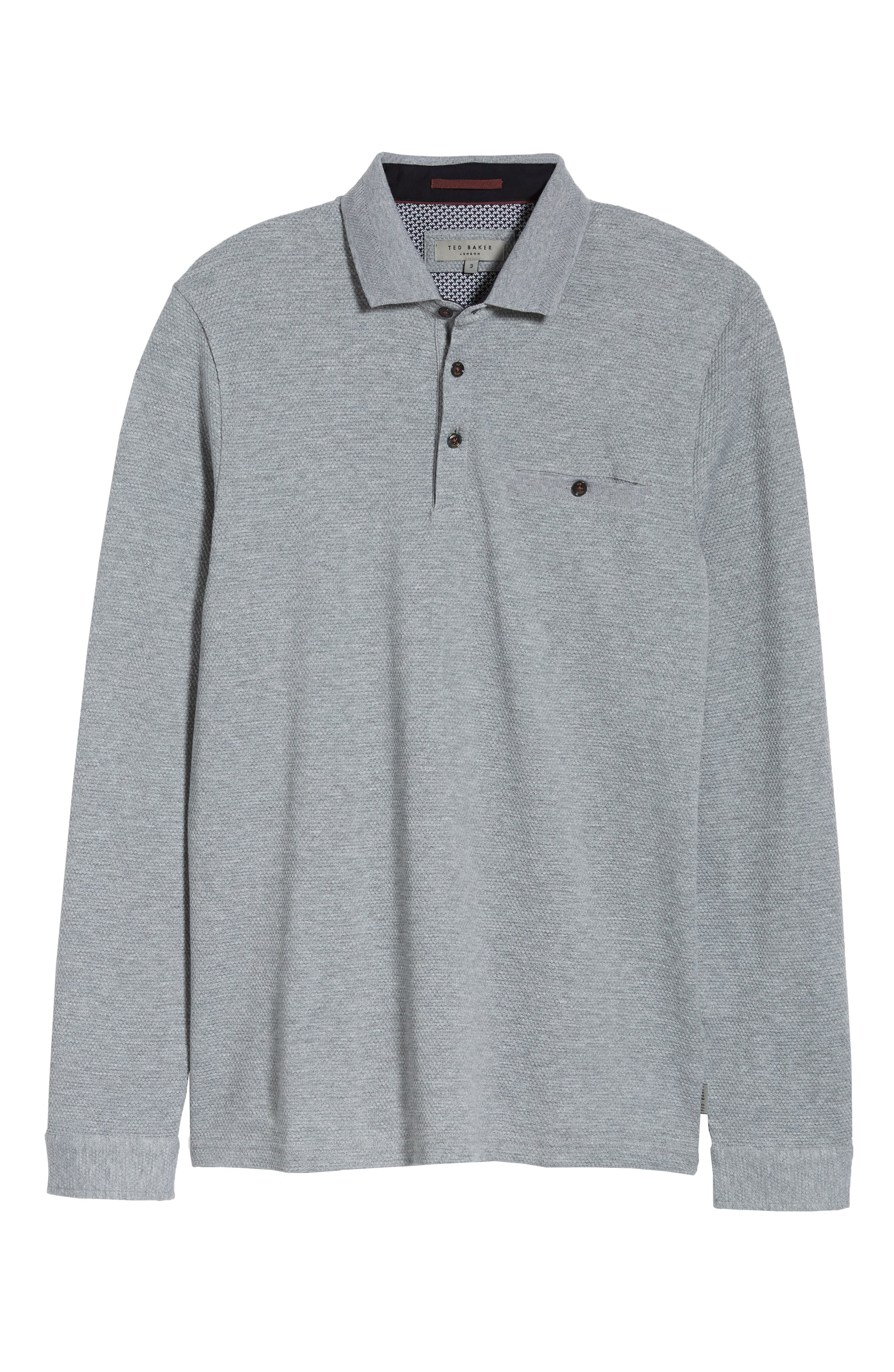 Scooby Trim Fit Long Sleeve Polo Shirt,                             Alternate thumbnail 6, color,                             Grey Marl