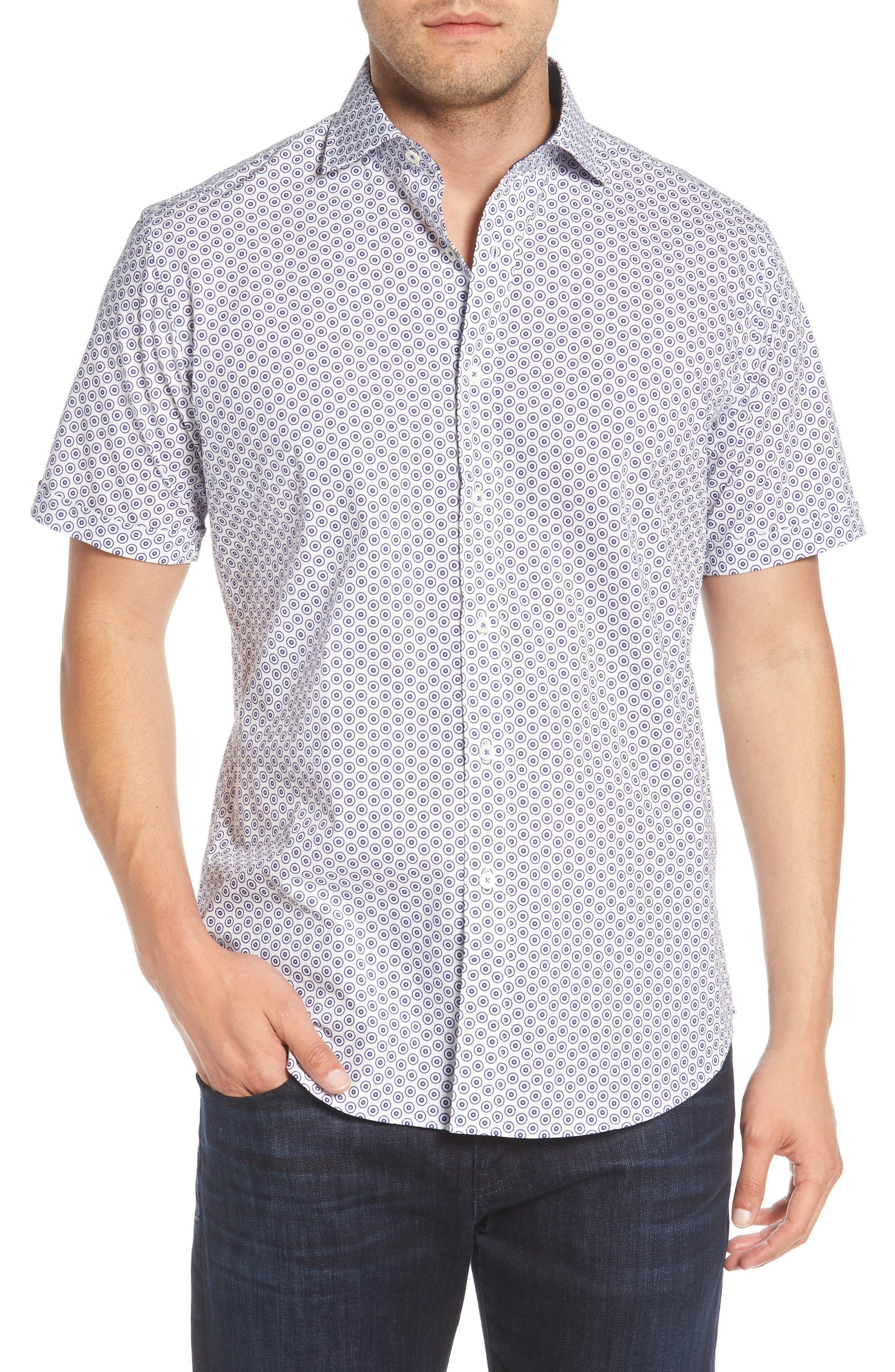 Shaped Fit Dot Circle Print Sport Shirt,                         Main,                         color, White