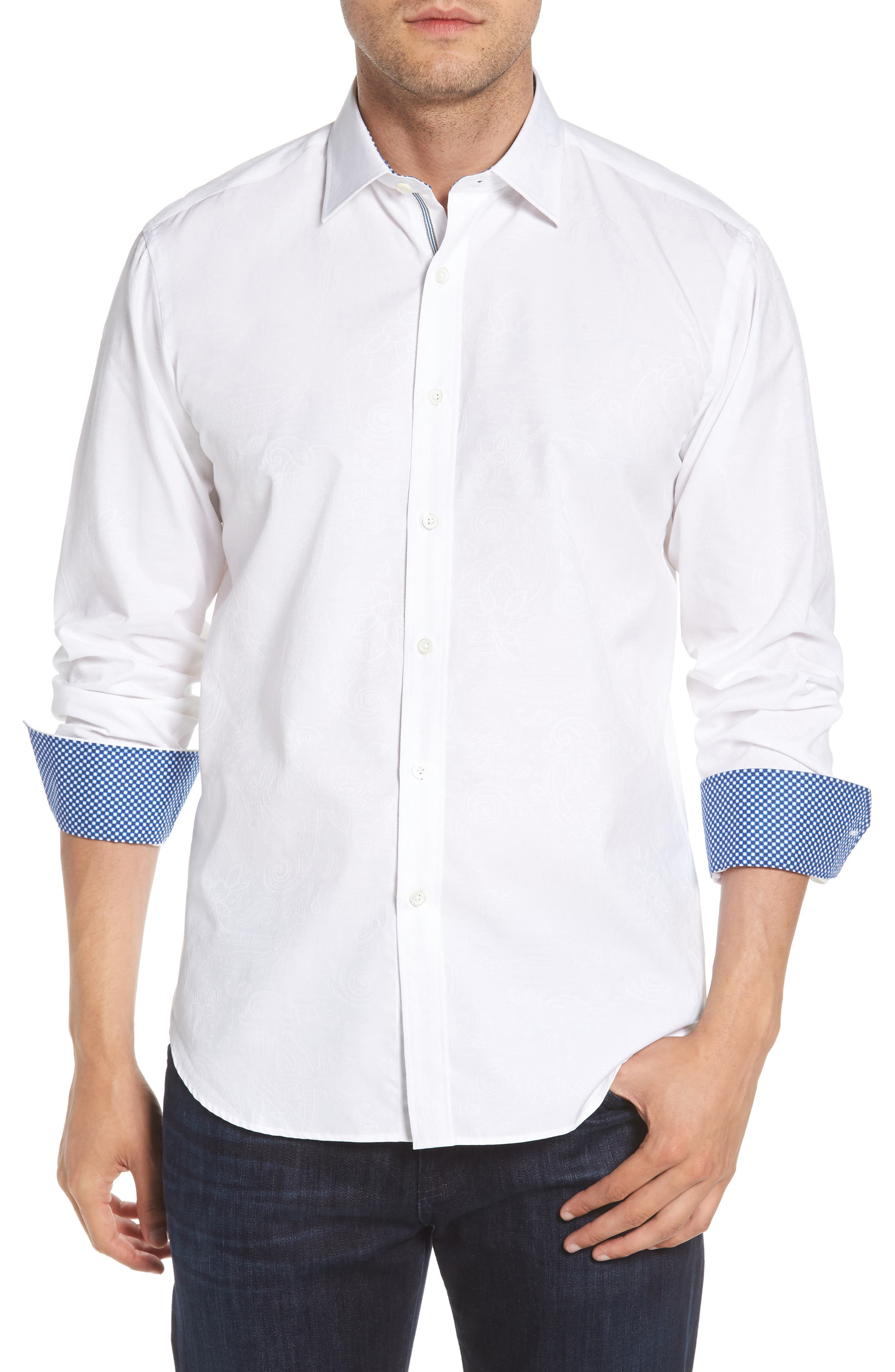 Shaped Fit Sport Shirt,                         Main,                         color, White