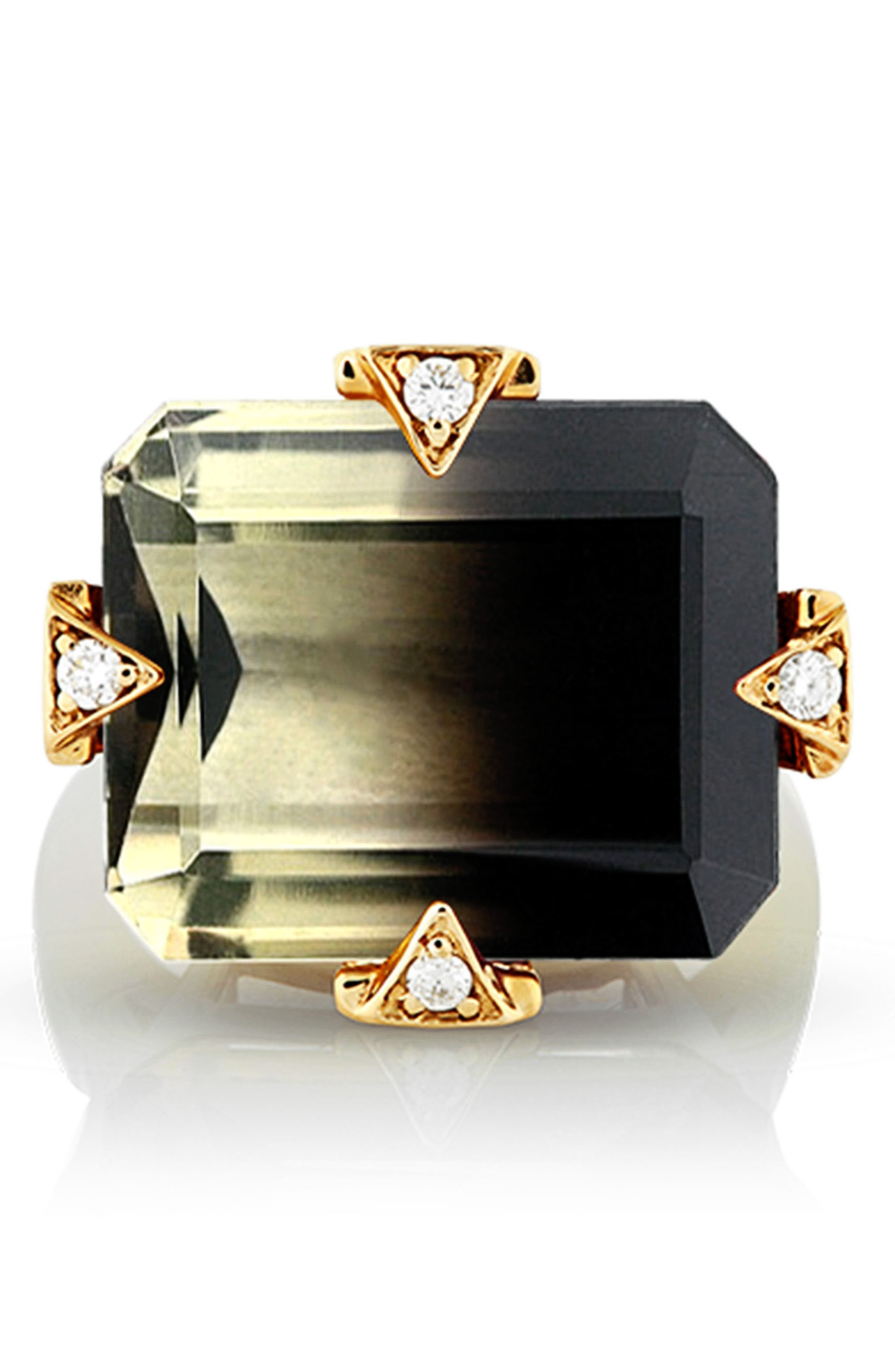Cocktail Ring with Diamonds,                             Alternate thumbnail 2, color,                             Smokey Citrine