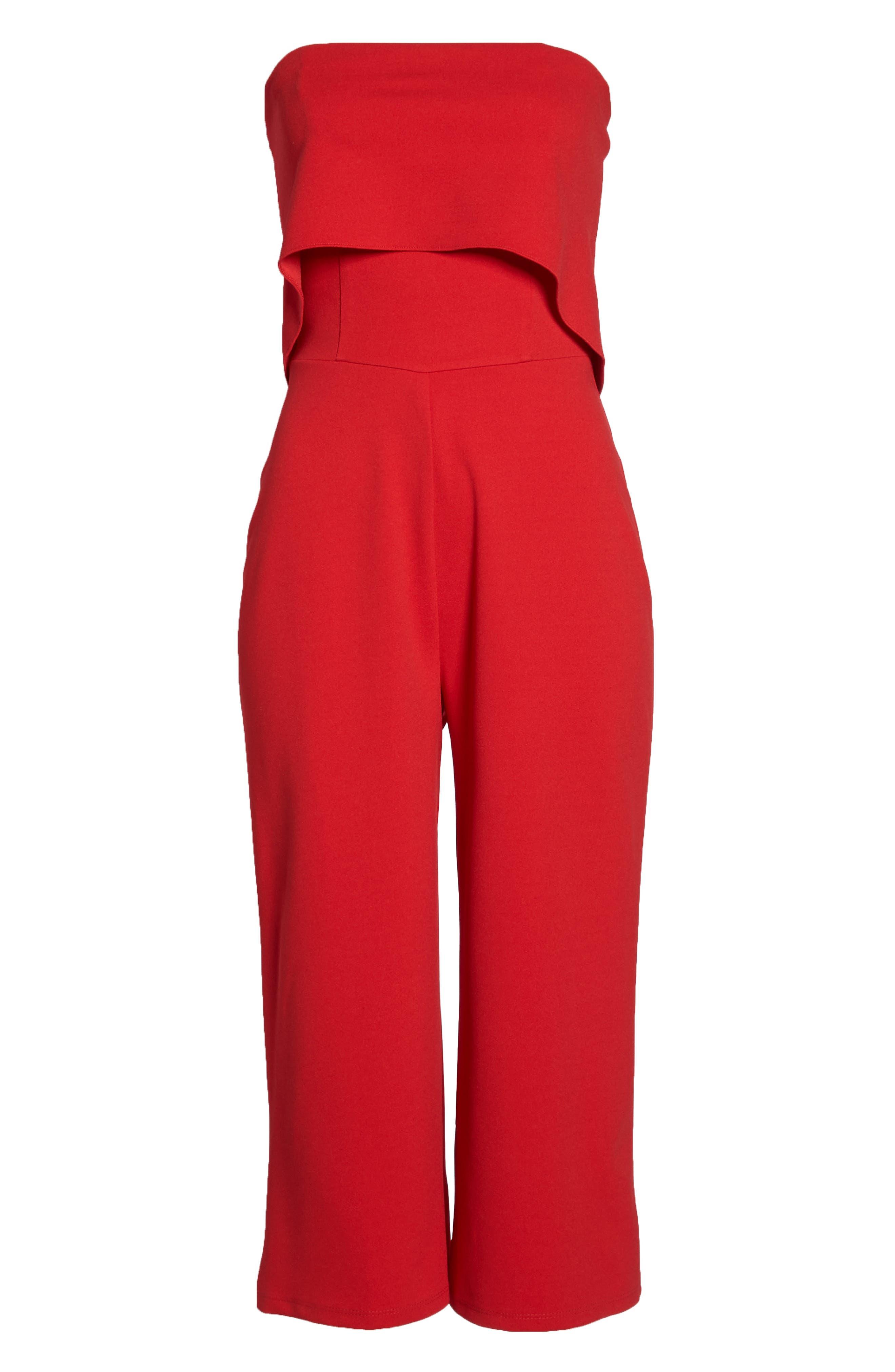 Strapless Culotte Jumpsuit,                             Alternate thumbnail 7, color,                             Red