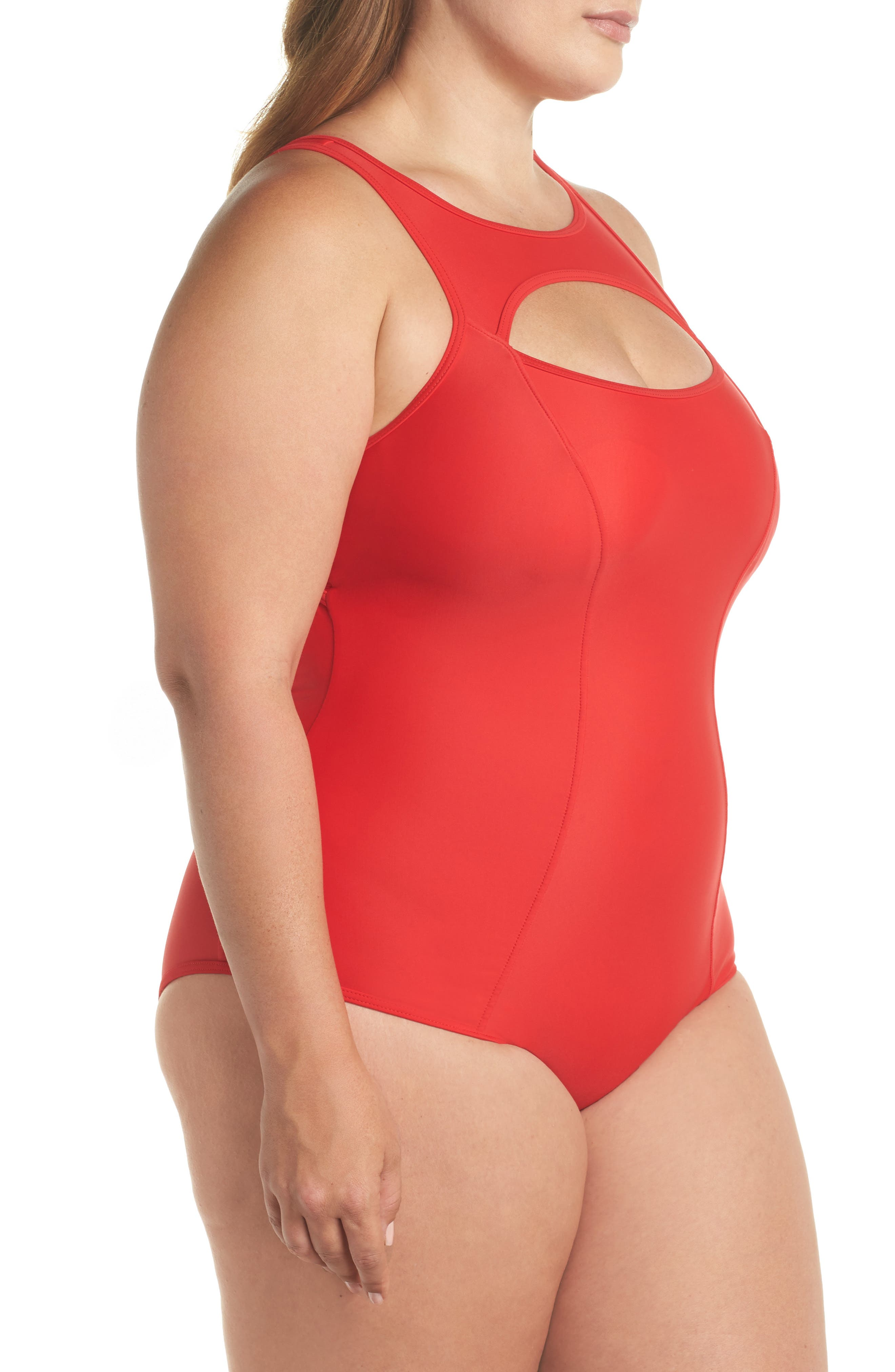 Saldana One-Piece Swimsuit,                             Alternate thumbnail 3, color,                             Red