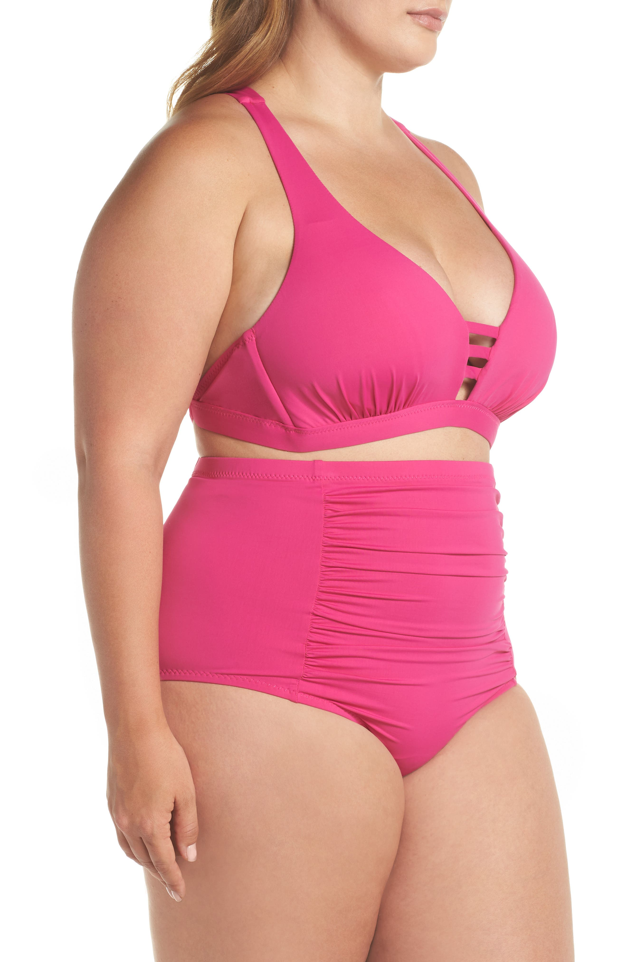 Color Code High Waist Bikini Bottoms,                             Alternate thumbnail 7, color,                             Flamingo