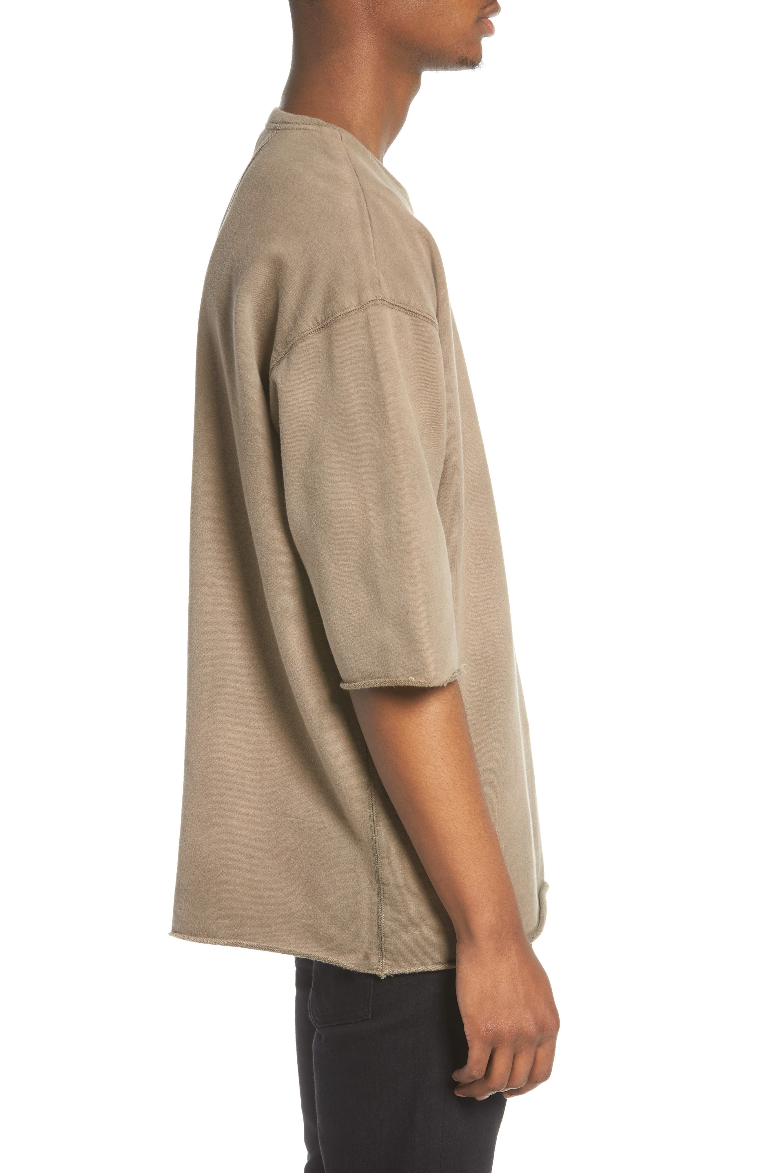 Washed Terry Pullover,                             Alternate thumbnail 3, color,                             Olive Dusk
