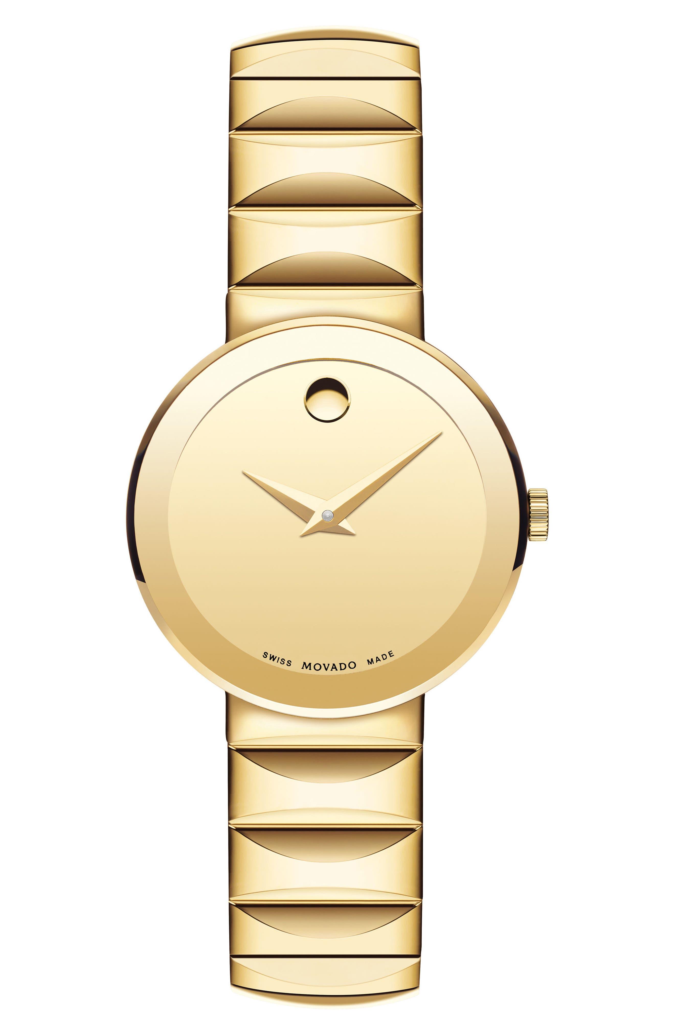 Sapphire Bracelet Watch, 26mm,                             Main thumbnail 1, color,                             Gold/ Black/ Gold