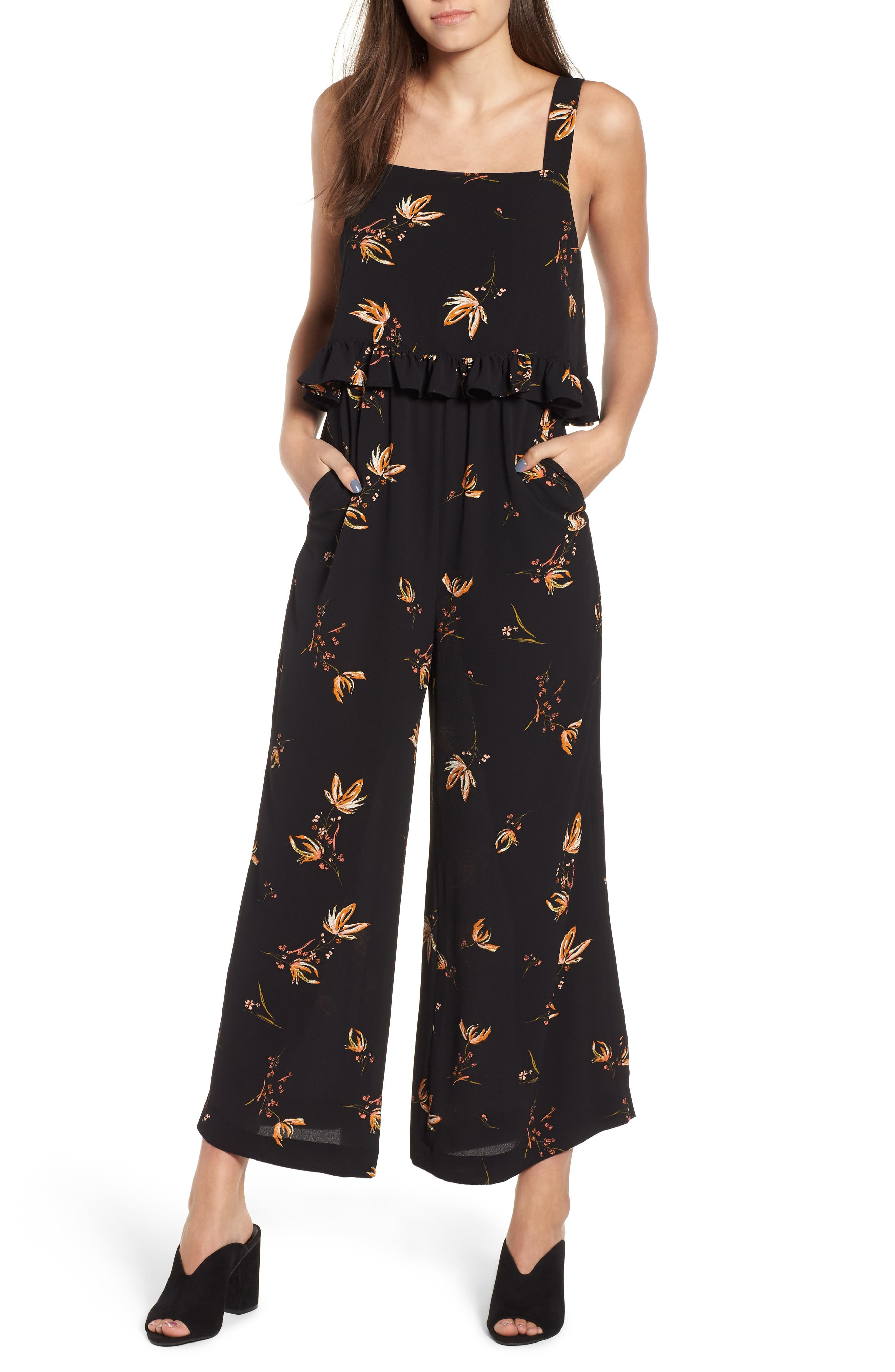 Ruffled Floral Print Jumpsuit,                         Main,                         color, Black Camilla Spaced Floral