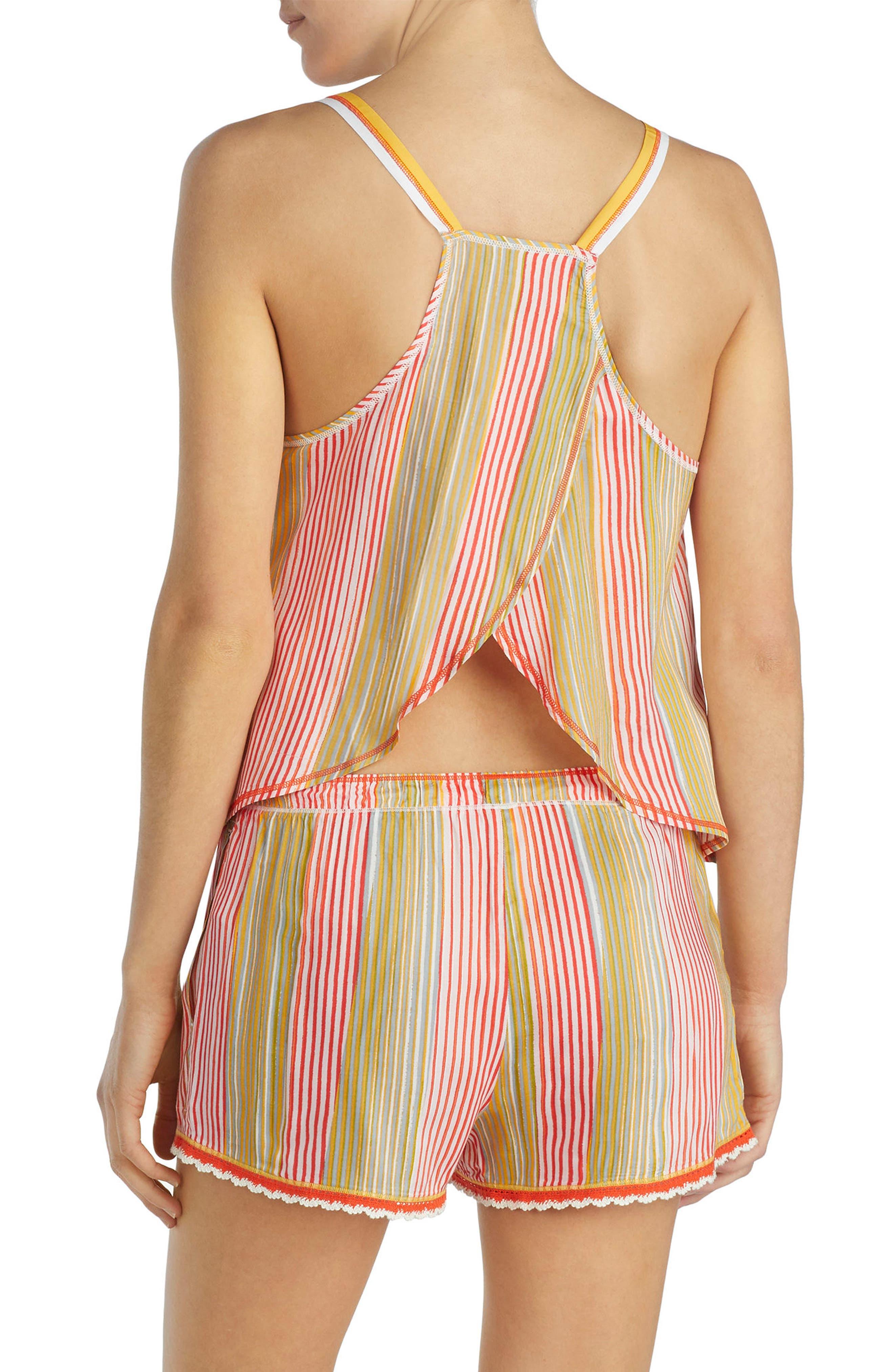 Lace Trim Short Pajamas,                             Alternate thumbnail 2, color,                             Multi Stripe