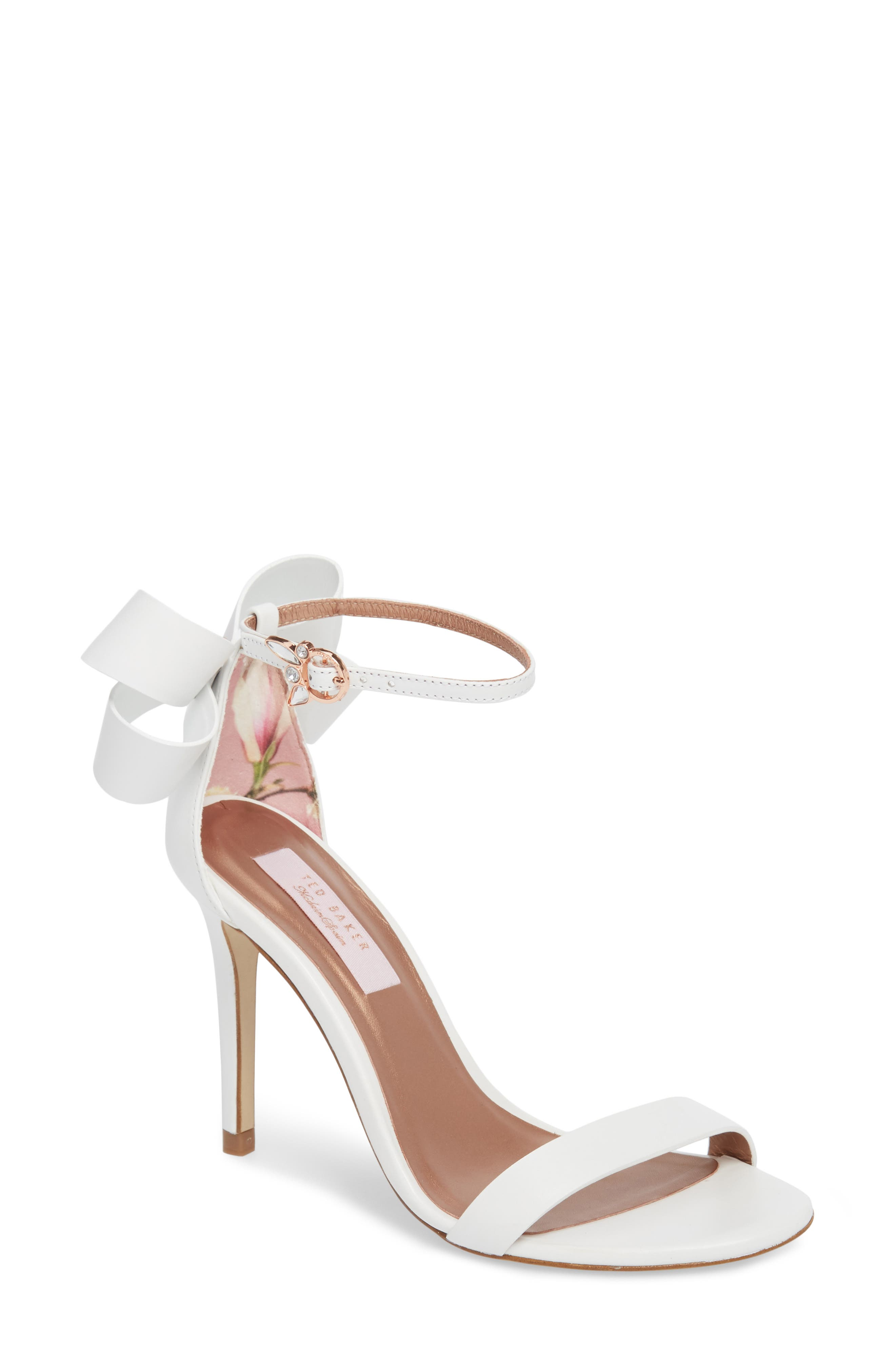 Ankle Strap Sandal,                             Main thumbnail 1, color,                             White Leather