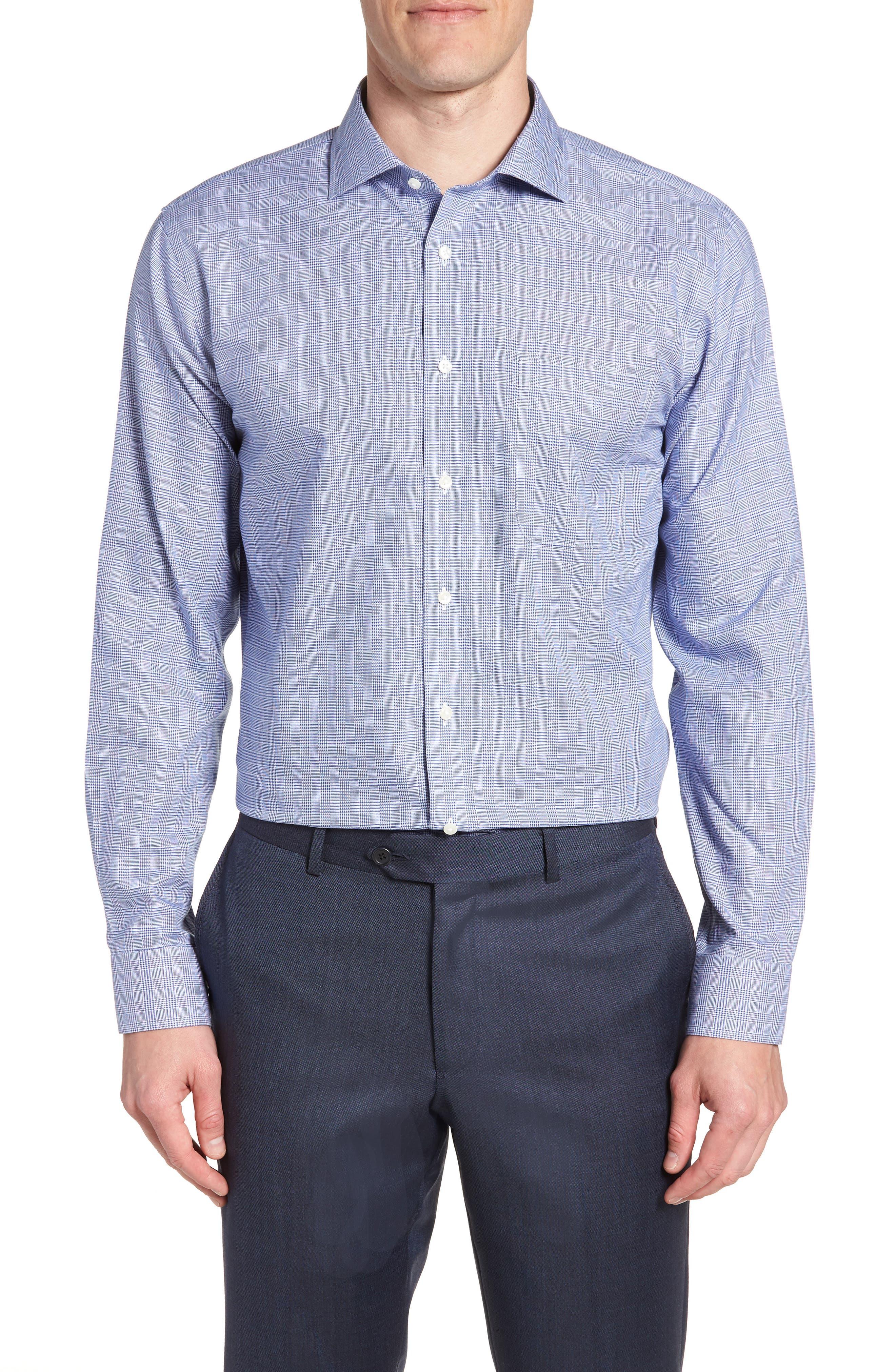 Smartcare<sup>™</sup> Trim Fit Herringbone Dress Shirt,                             Main thumbnail 1, color,                             Blue Marine