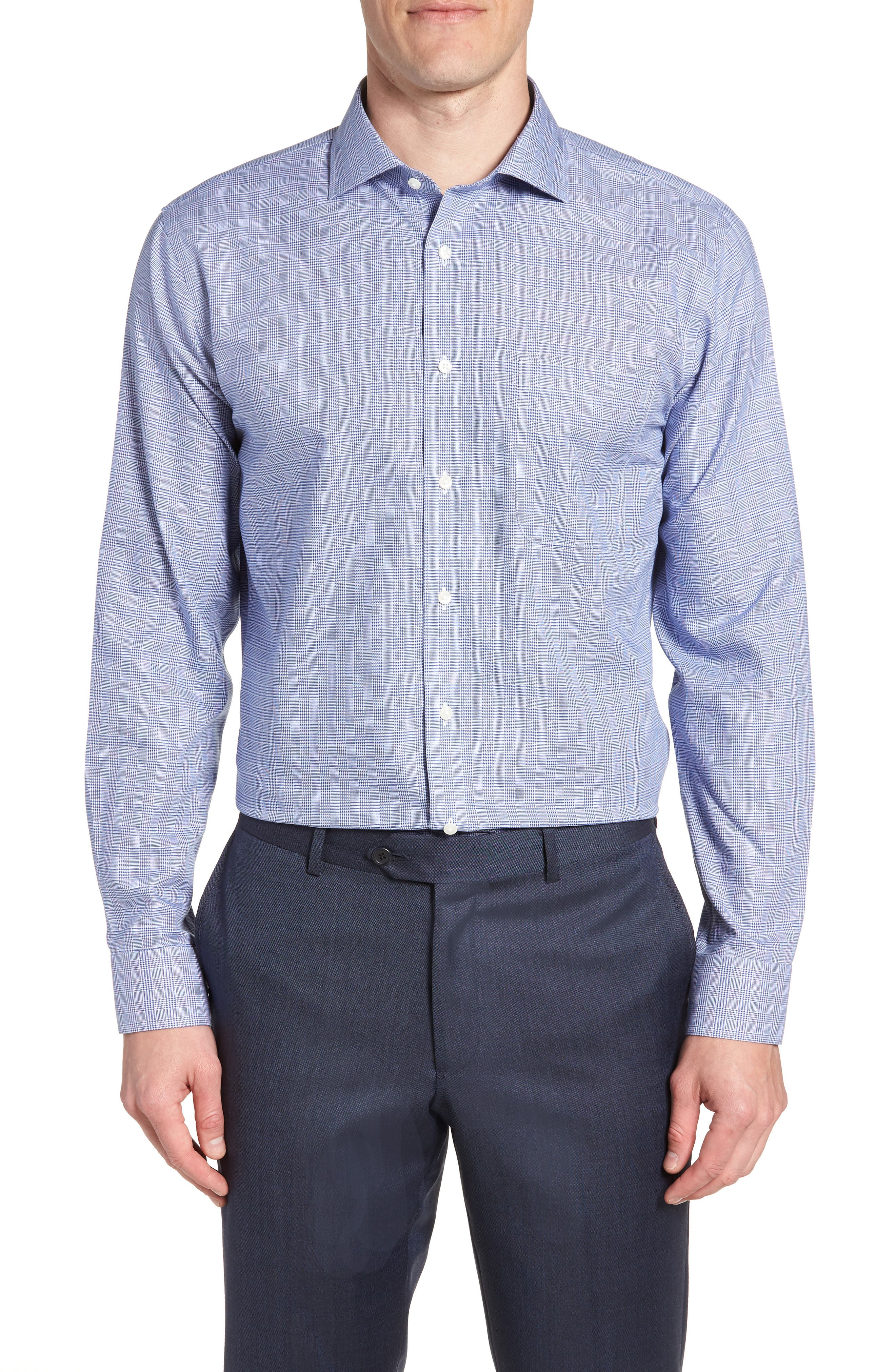 Smartcare<sup>™</sup> Trim Fit Herringbone Dress Shirt,                         Main,                         color, Blue Marine
