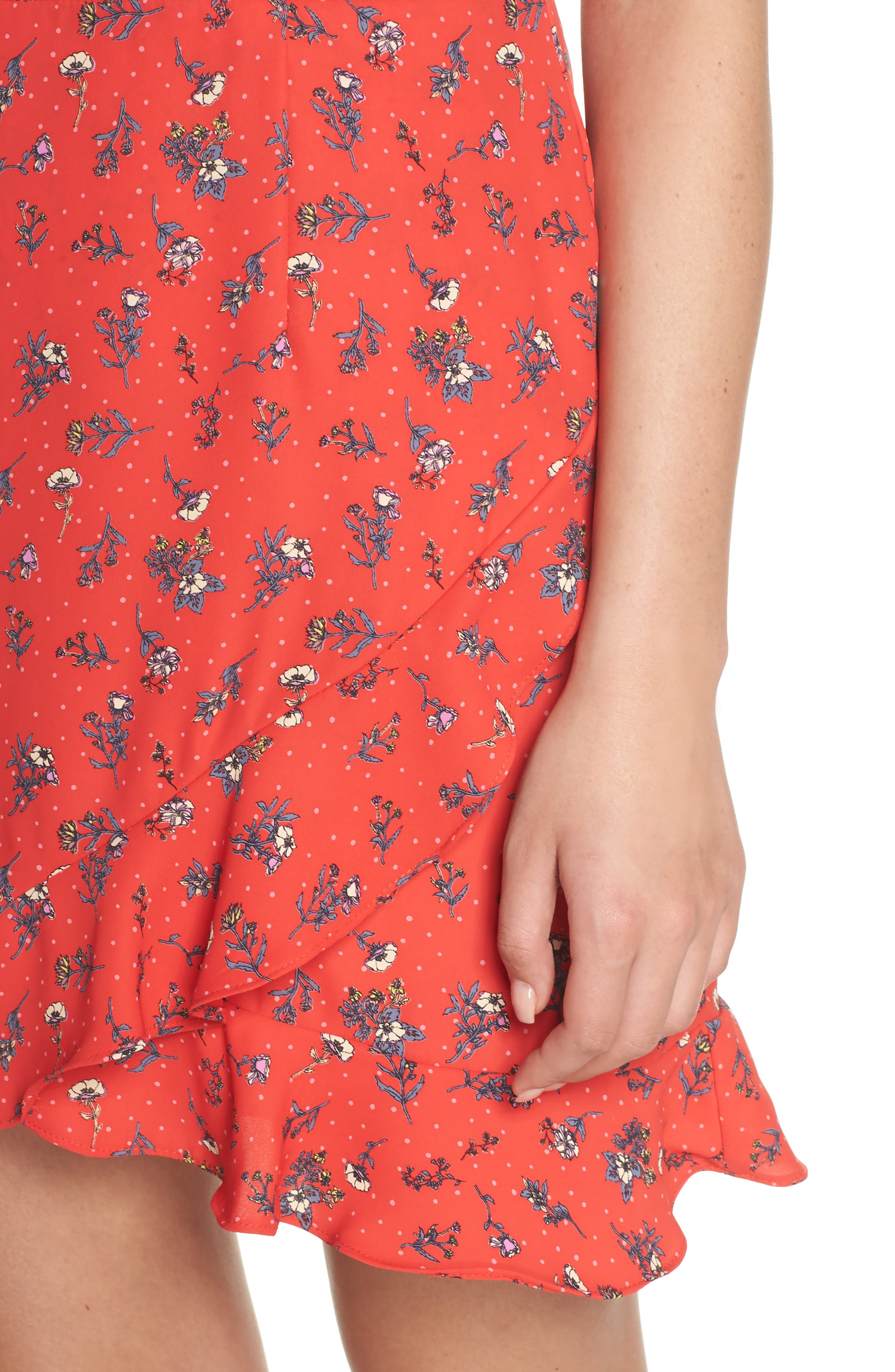 Flutter Sleeve Ruffle Hem Dress,                             Alternate thumbnail 4, color,                             Red Floral Print