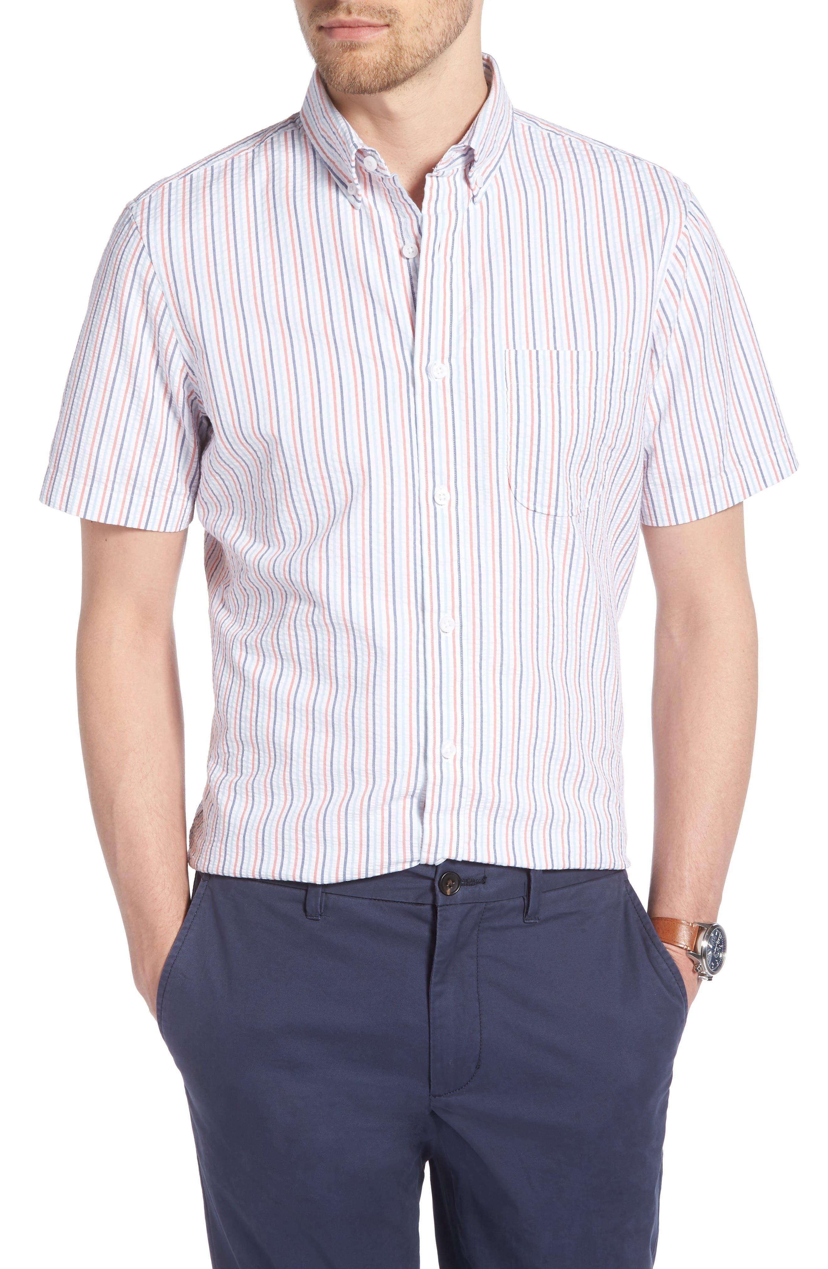 Trim Fit Seersucker Short Sleeve Sport Shirt,                             Main thumbnail 1, color,                             White Multi Pencil Stripe