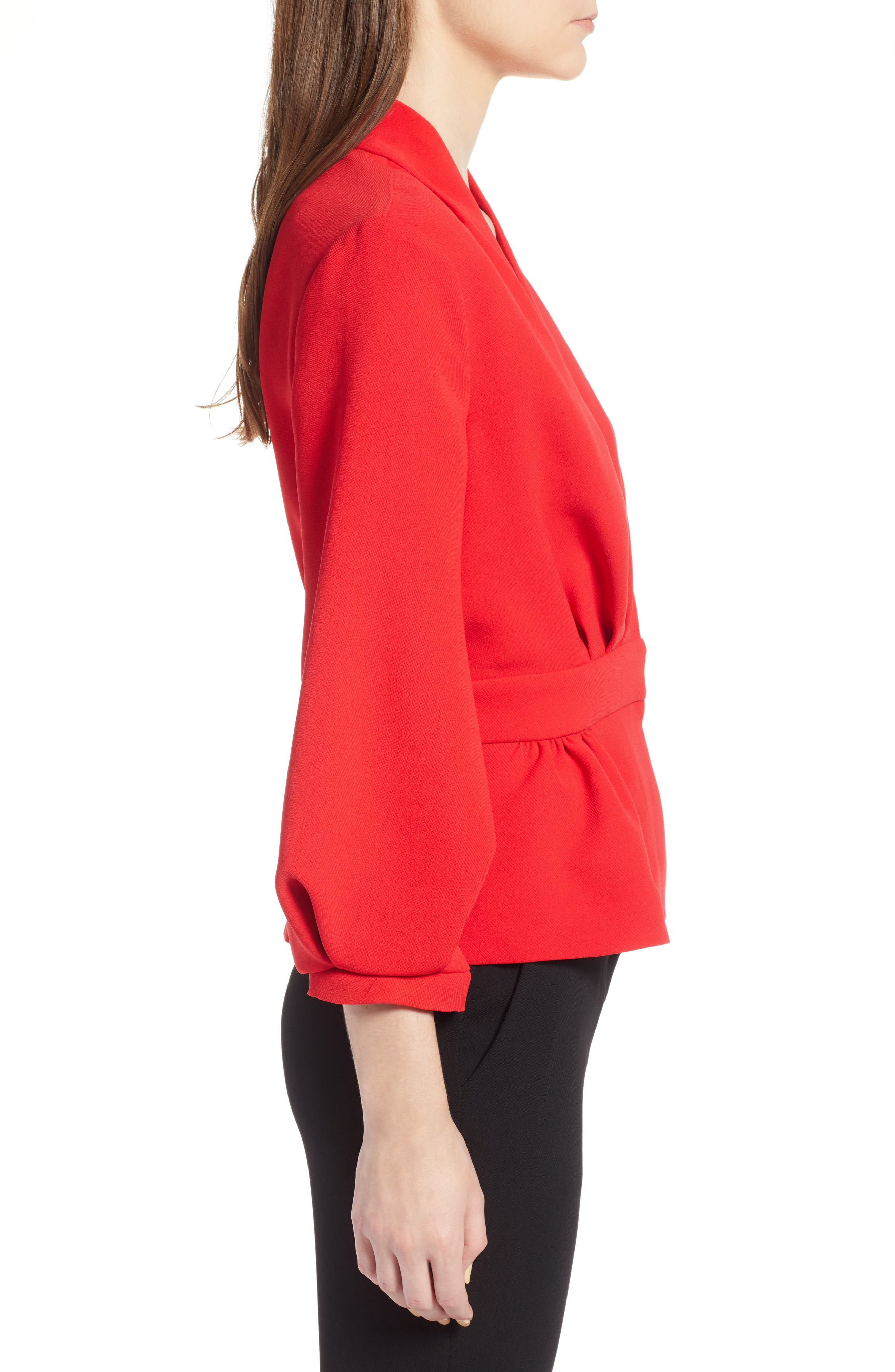 Blouson Sleeve Jacket,                             Alternate thumbnail 3, color,                             Red Chinoise