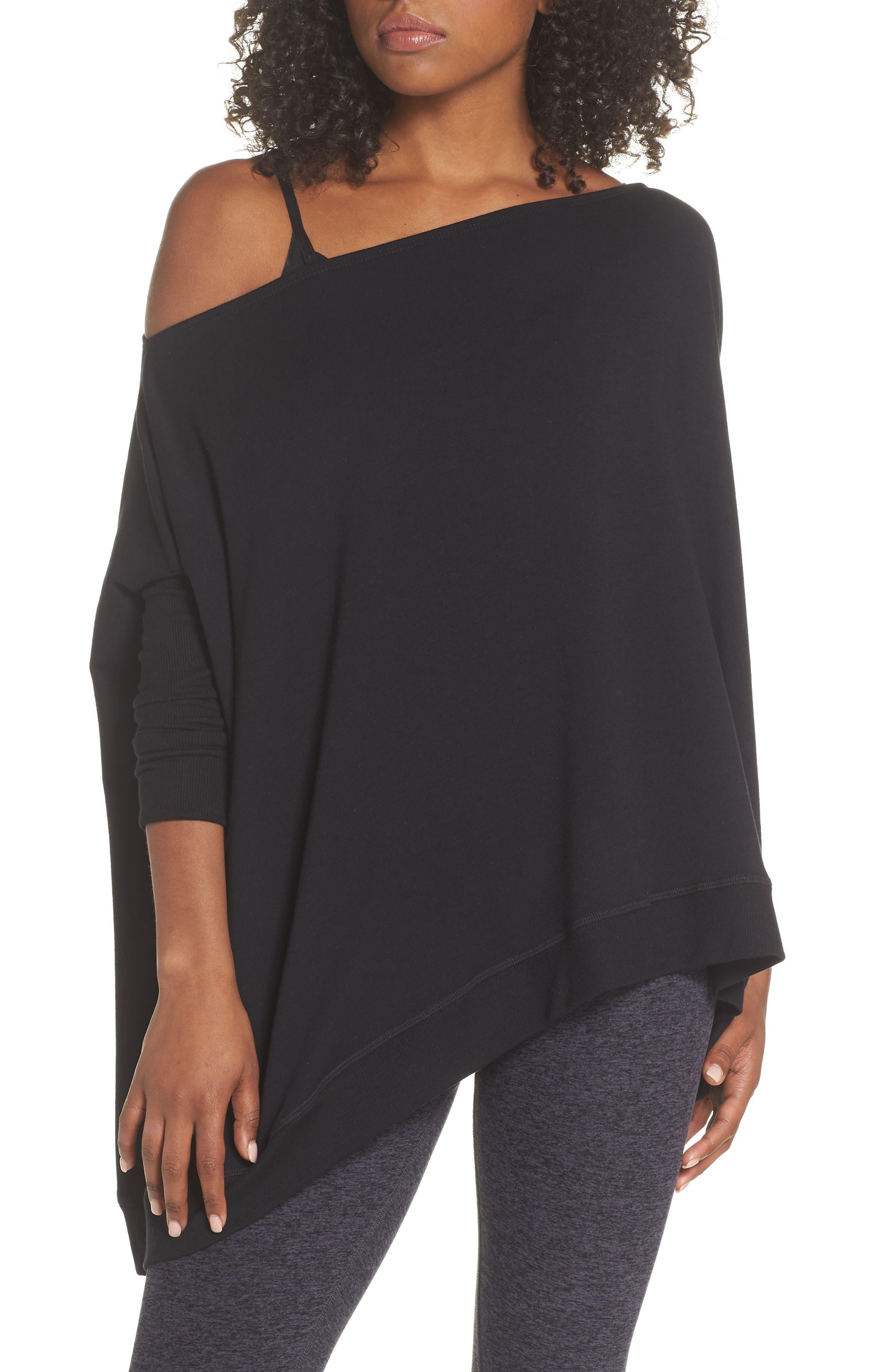 'Cozy' Convertible Fleece Pullover,                             Main thumbnail 1, color,                             Black