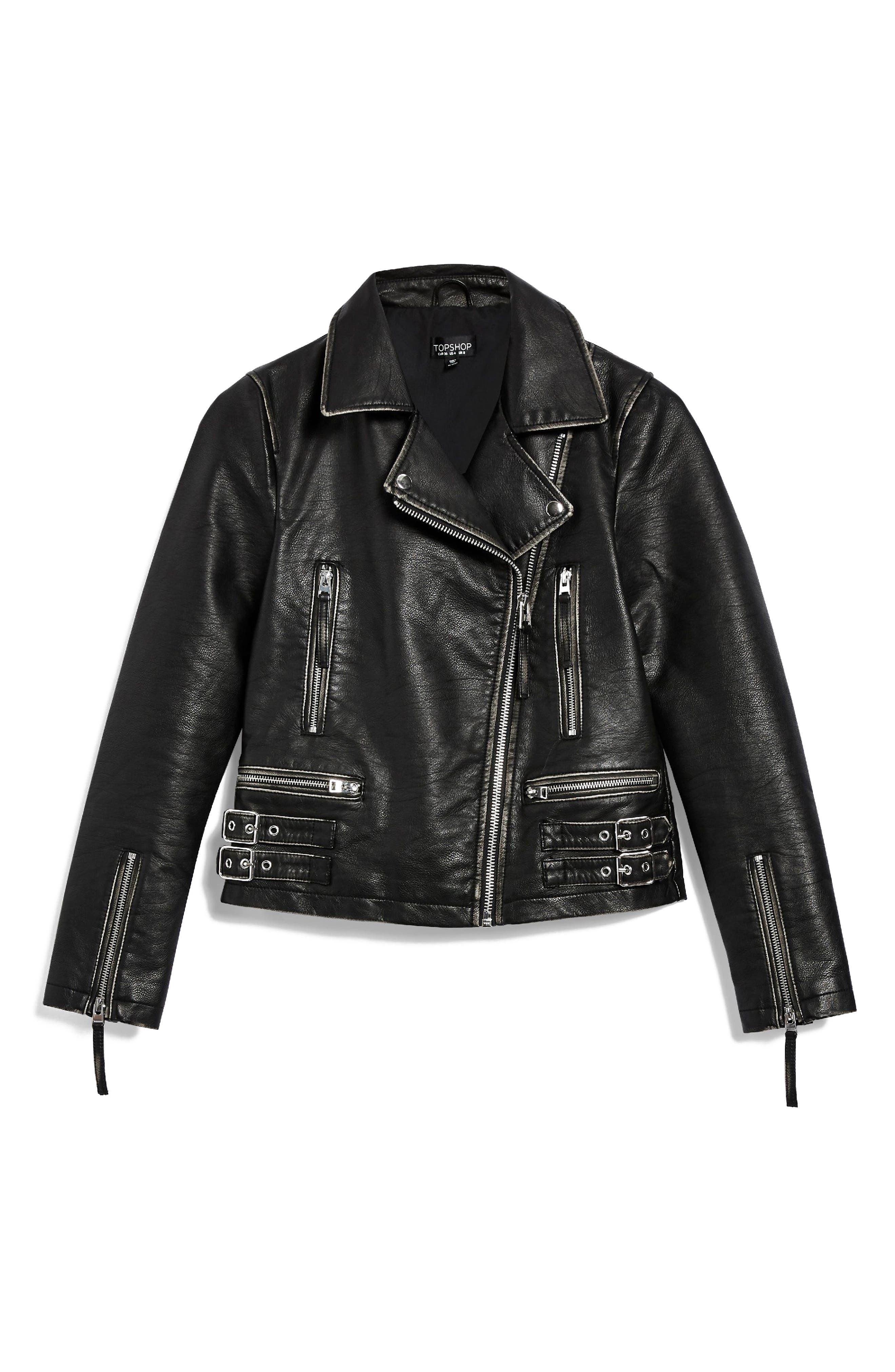 Ellie Washed Biker Jacket,                             Alternate thumbnail 3, color,                             Black